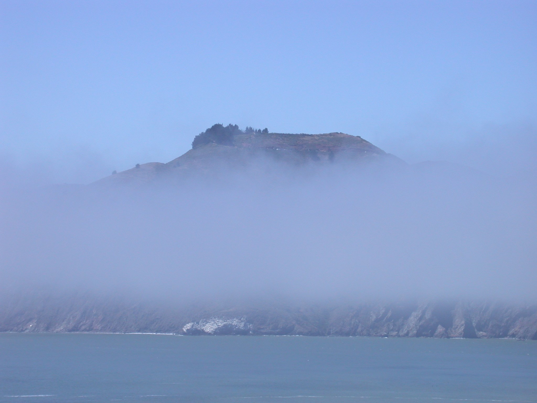 Marin Headlands Obscured by Stripe of Fog
