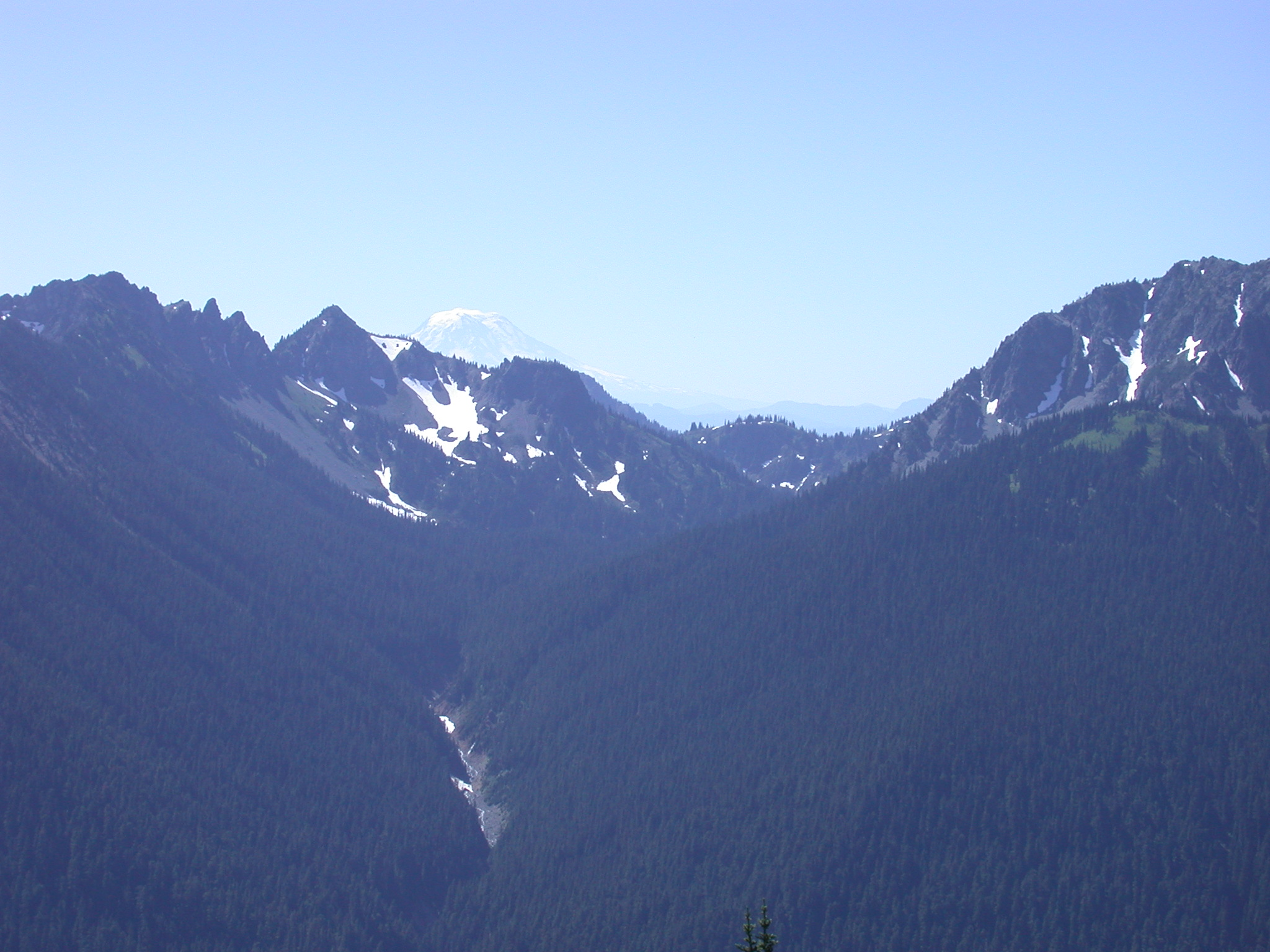 Distant Peak Behind Magnificent Valley Near Mount Rainier
