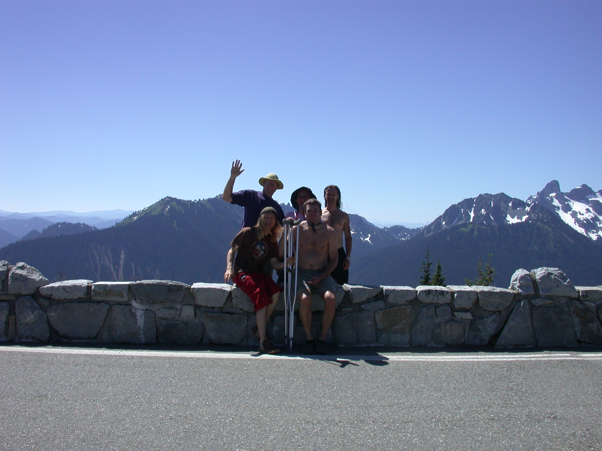 Dazzle, Mugwort, Franz, Kirby, and Tusk at Mount Rainier Outlook