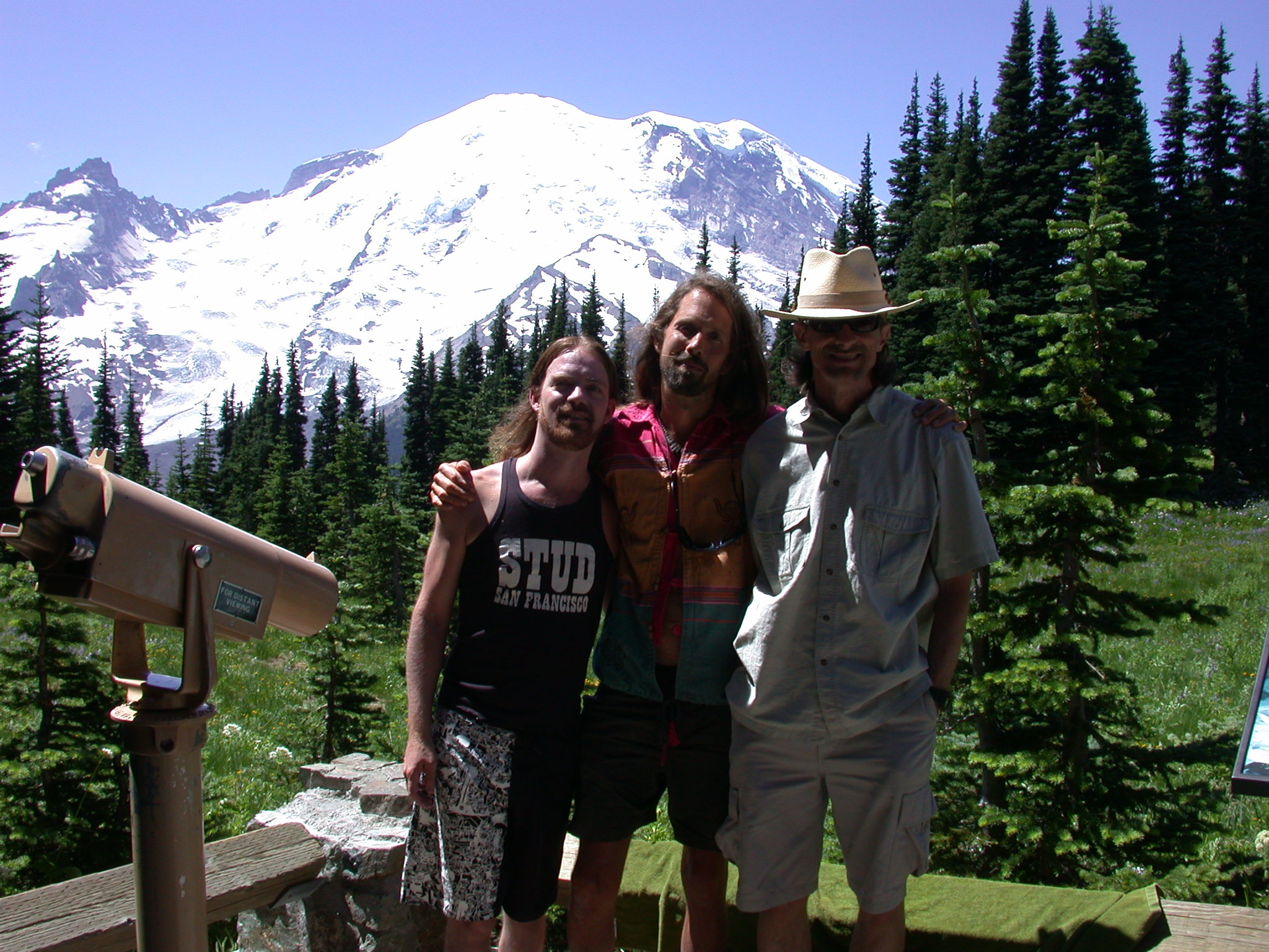 Stardust, Fruitboy, and Don With Grandmother Rainier at Sunrise Camp