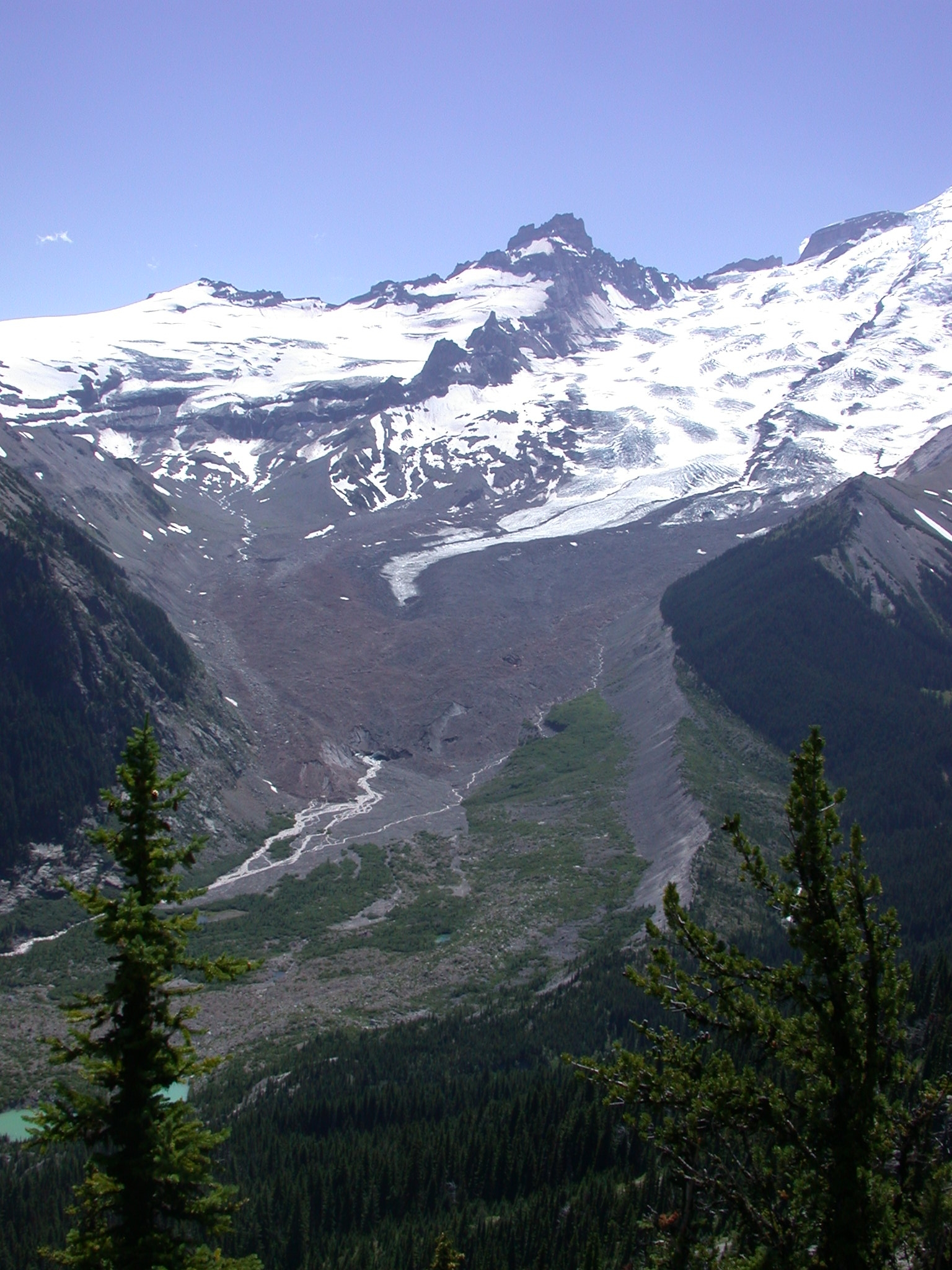 Glacial Flow From Mount Rainier