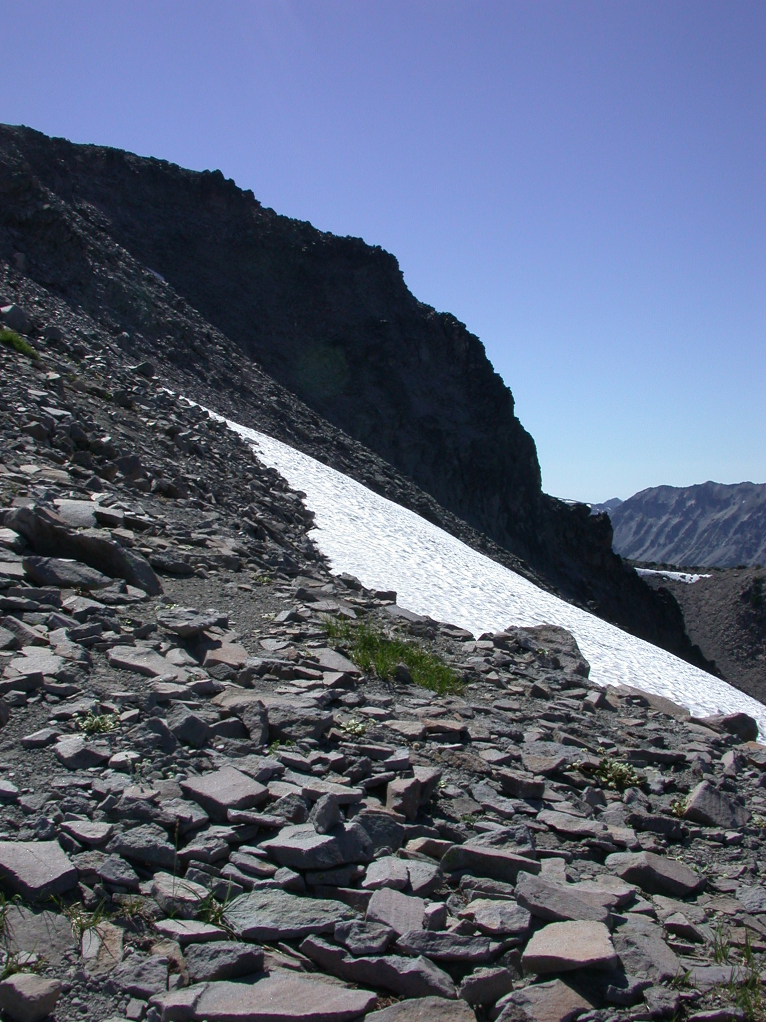 Snow on Trail From Burroughs Peak I to Burroughs Peak II on Mount Rainier