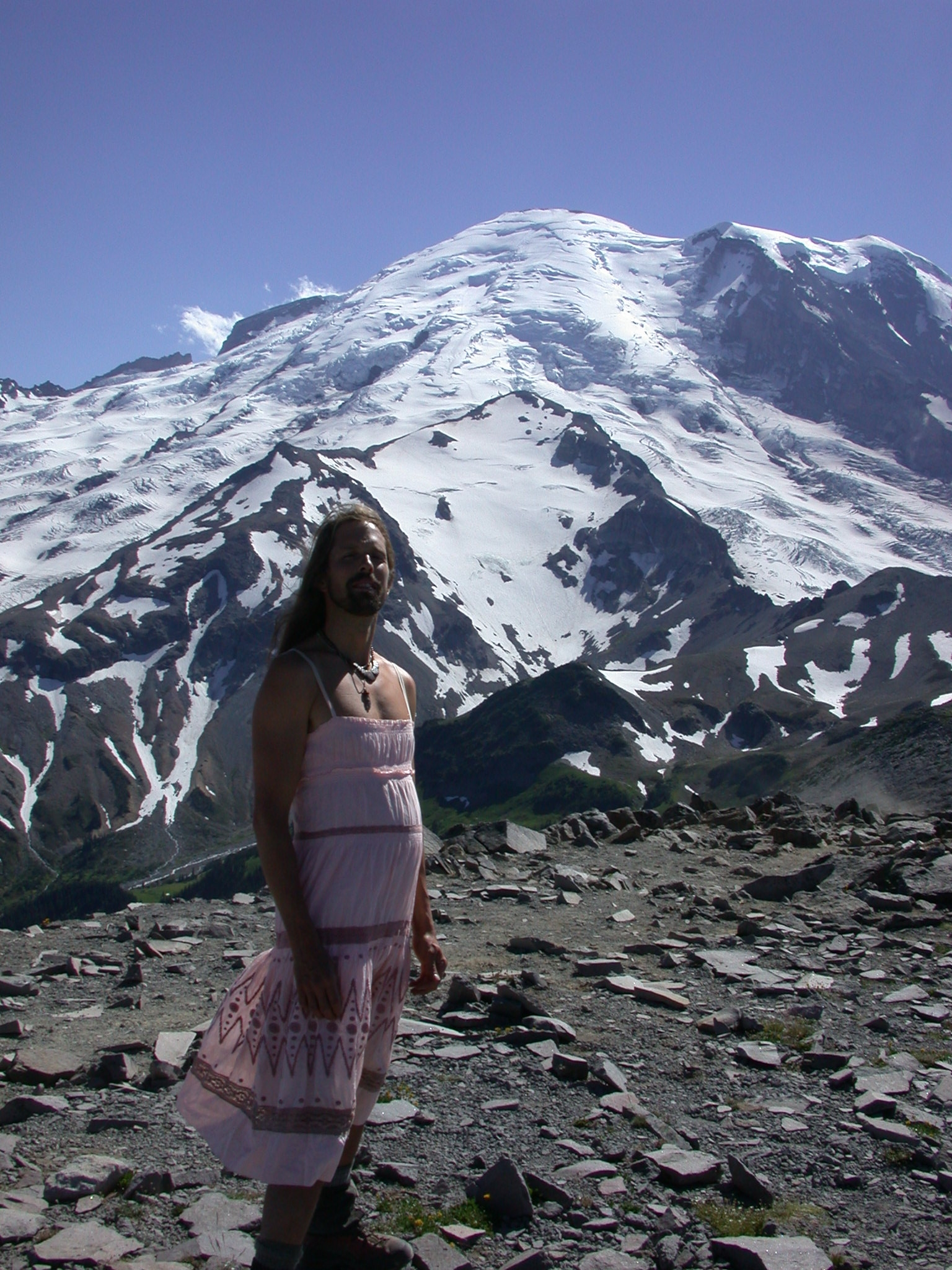 Fruitboy in Dress on Burroughs Peak II With Mount Rainier Summit in Background