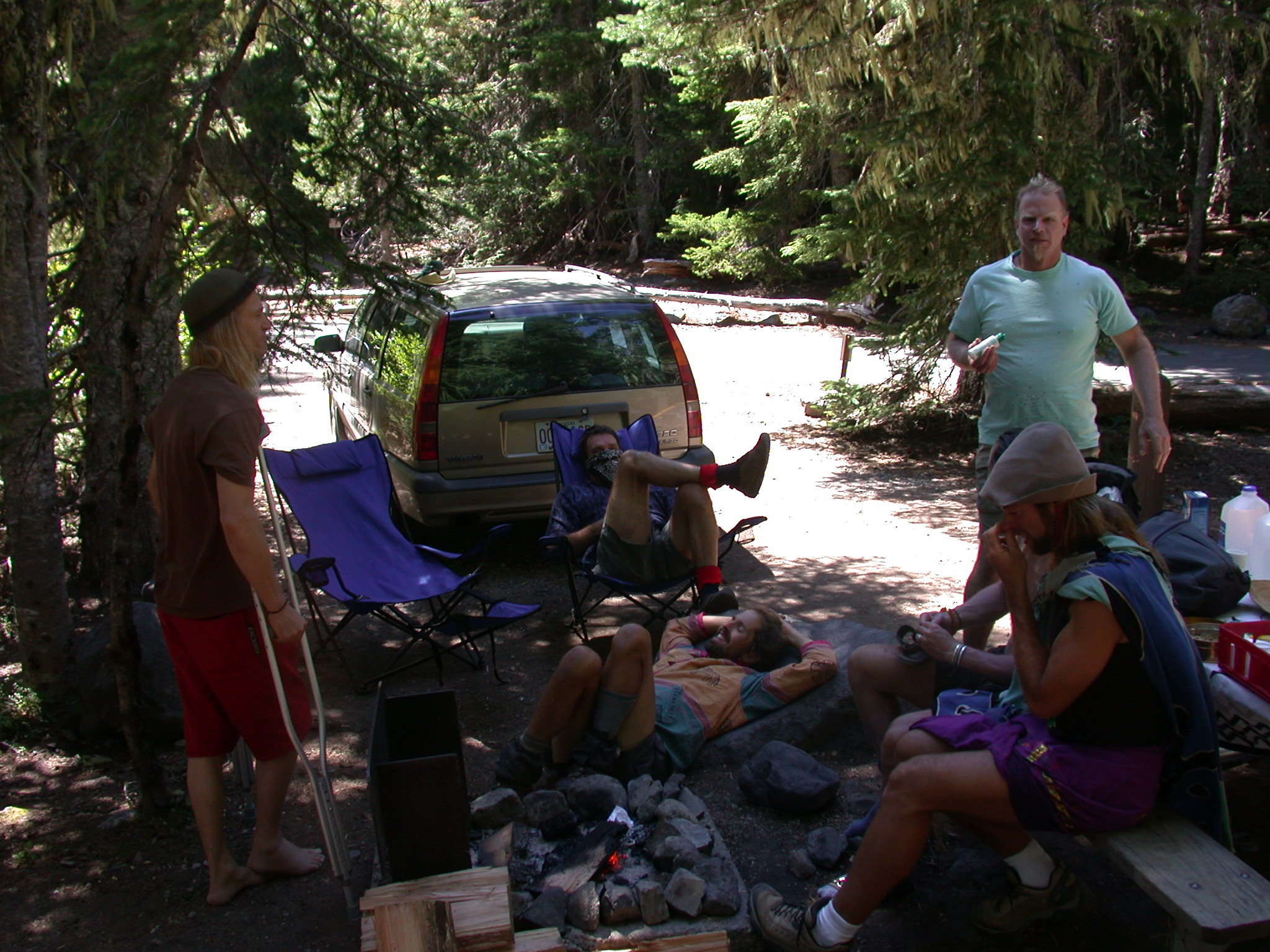 Kirby, Masked Tusk, Dazzle, Fruitboy, Hidden Franz, and Sierra at White River Campsite on Mount Rainier