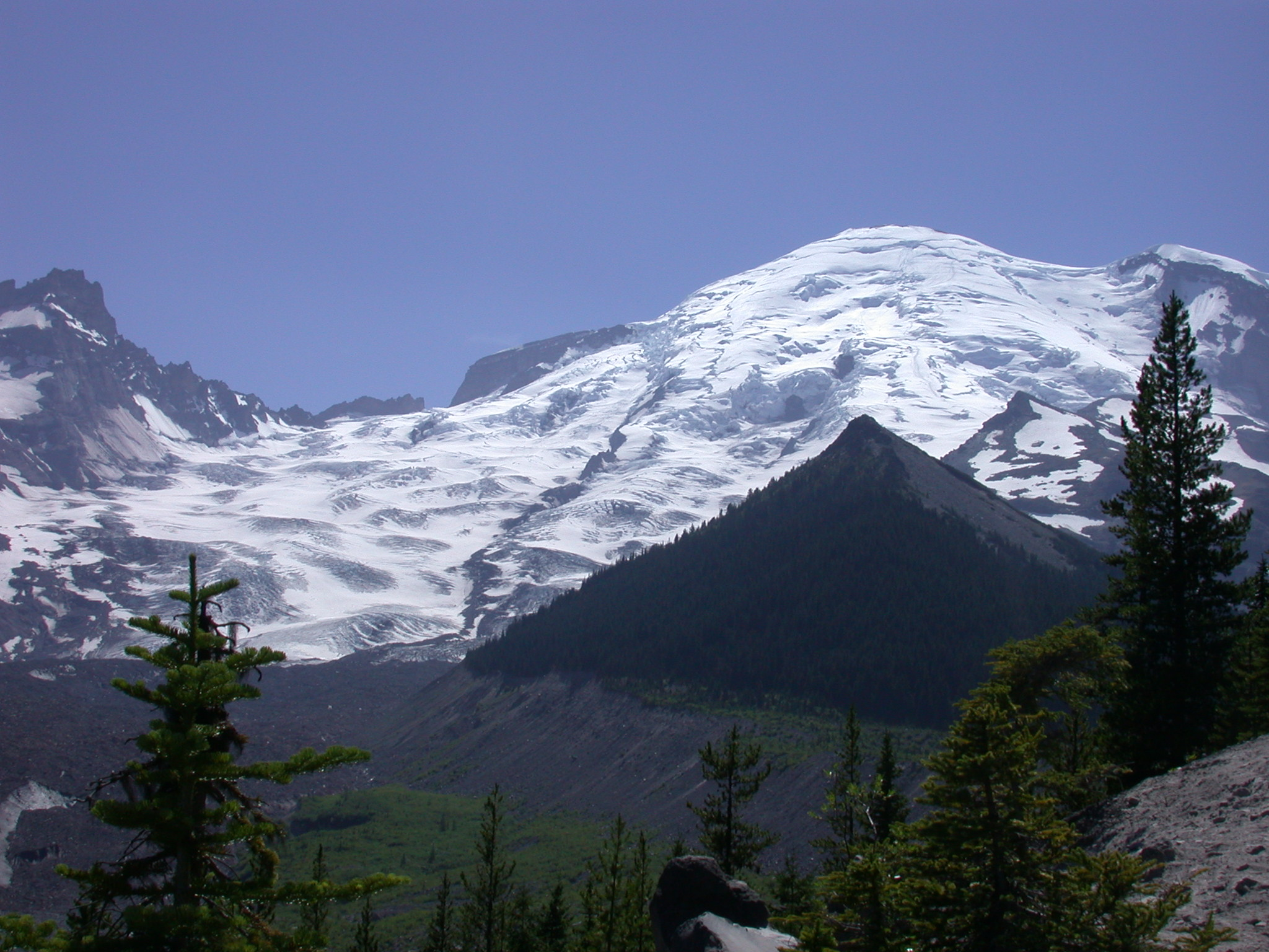 Pyramid Peak Below Mount Rainier Summit From Glacier Trail