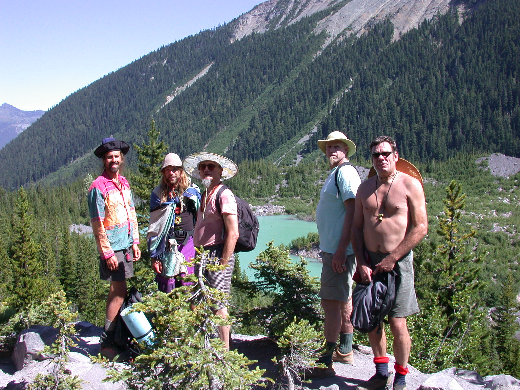 Fruitboy, Sierra, Mugwort, Dazzle, and Tusk on Glacier Lake Overlook of Mount Rainier