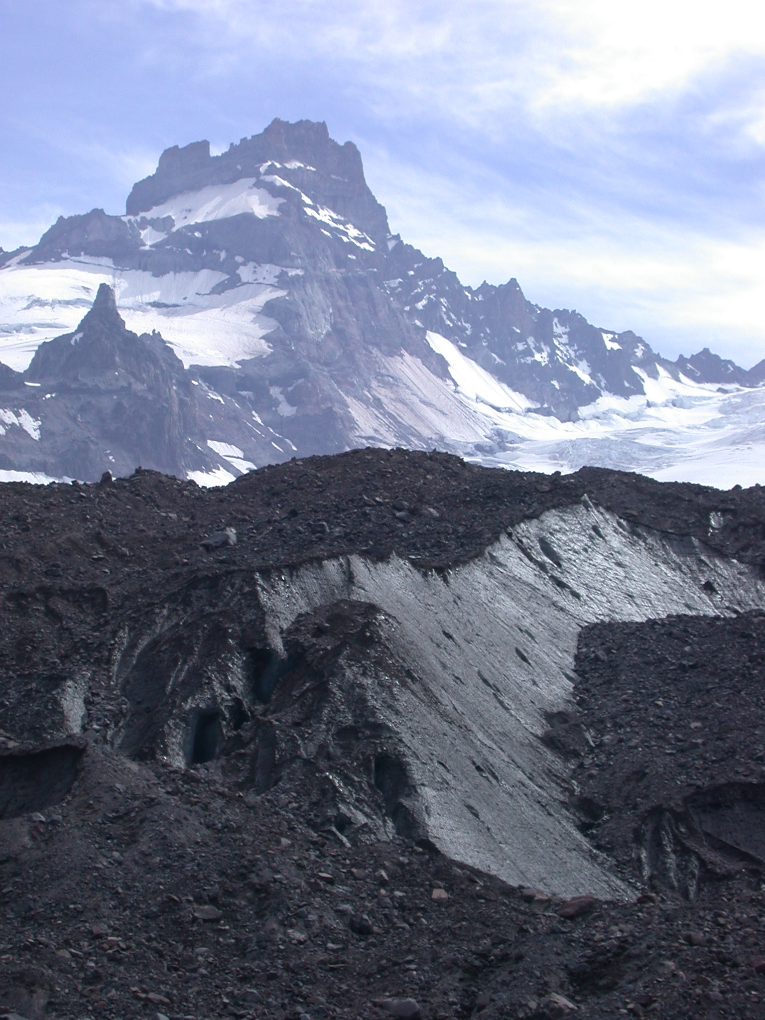 Dirty Part of Glacier Under Jagged Peak on Mount Rainier
