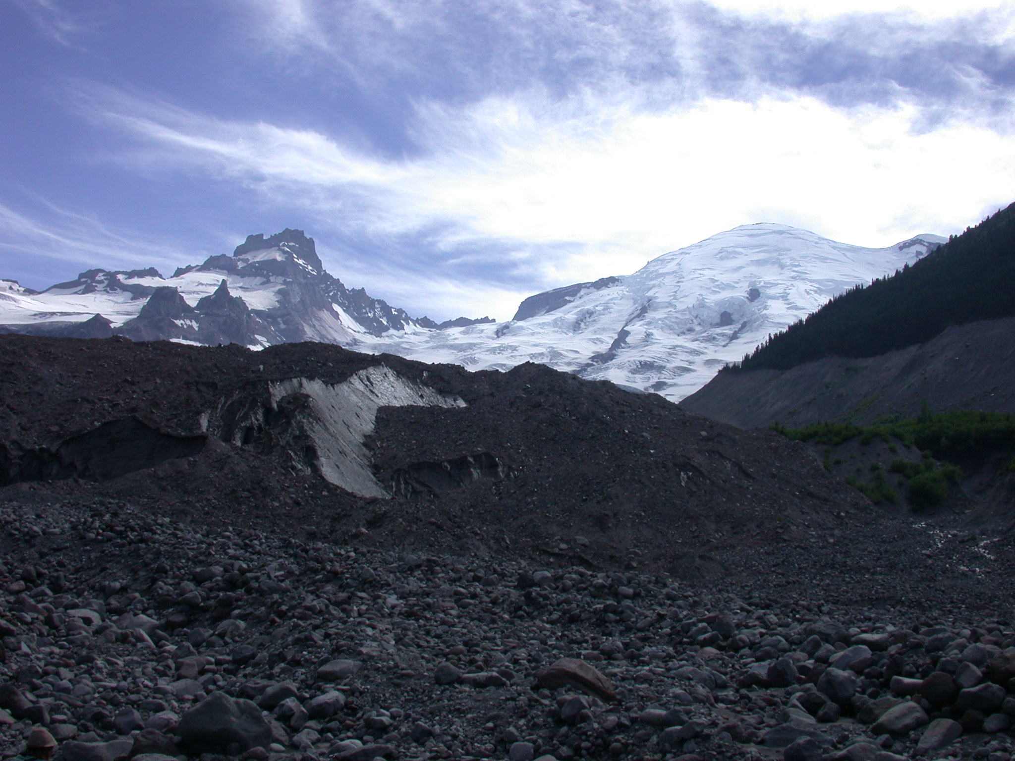 Dirty Part of Glacier With View of Mount Rainier Summit