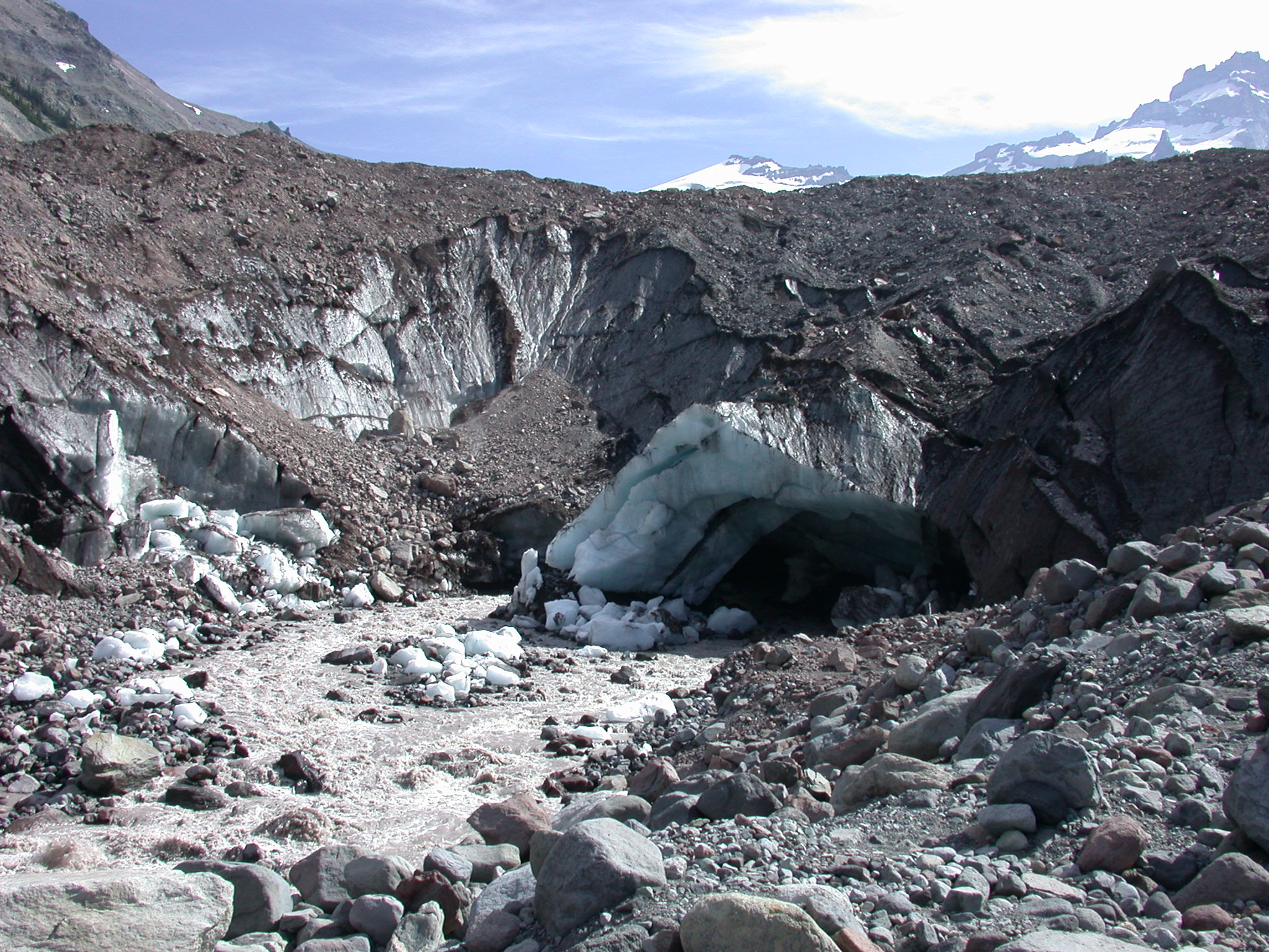 Approaching the Ice Cave at the Base of a Glacier on Mount Rainier