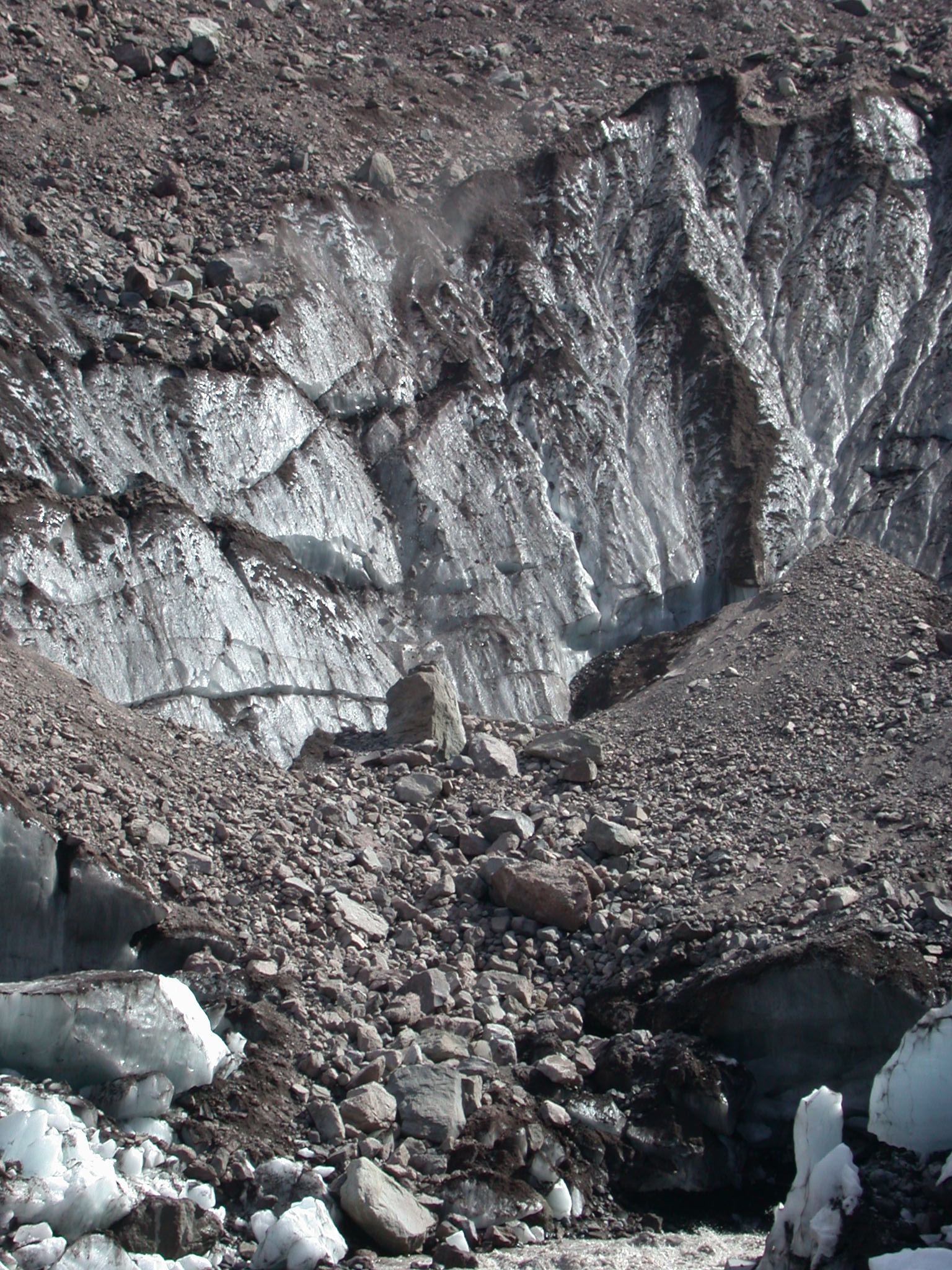 Glacier and Tumbling Debris on Mount Rainier