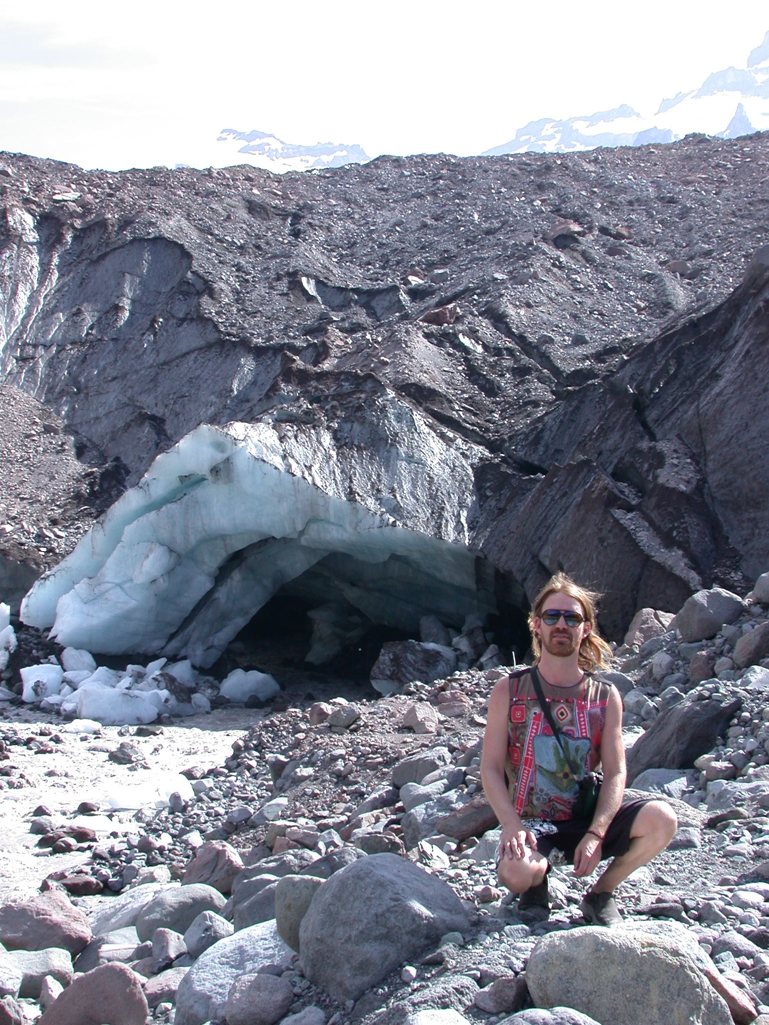 Stardust in Front of Ice Cave at Base of Glacier on Mount Rainier