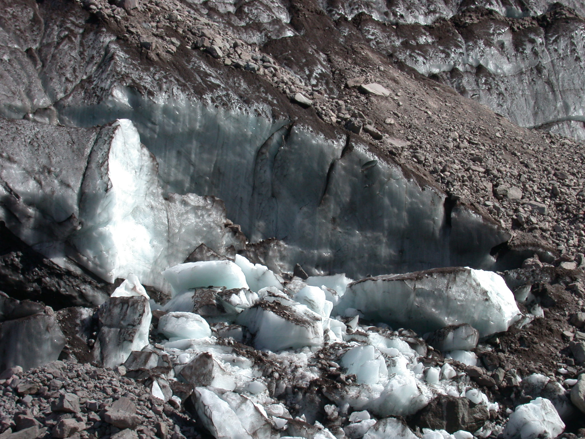 Ice Shearing From Base of Glacier on Mount Rainier