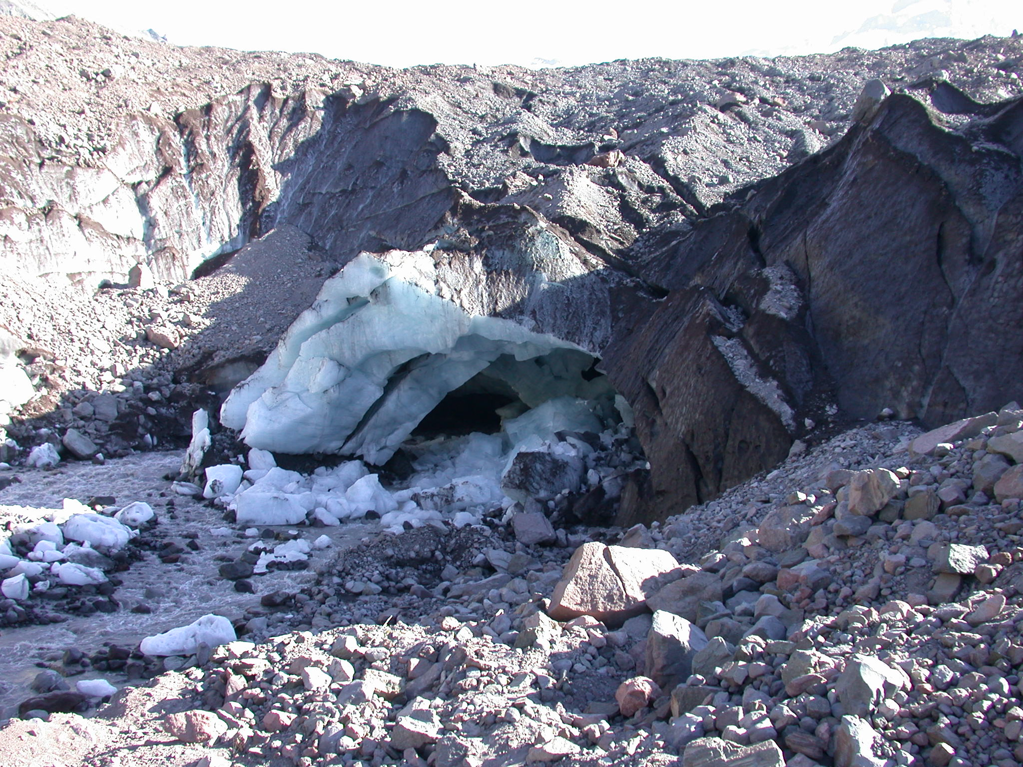 Another View of Further Collapse of Ice Cave at Base of Glacier on Mount Rainier
