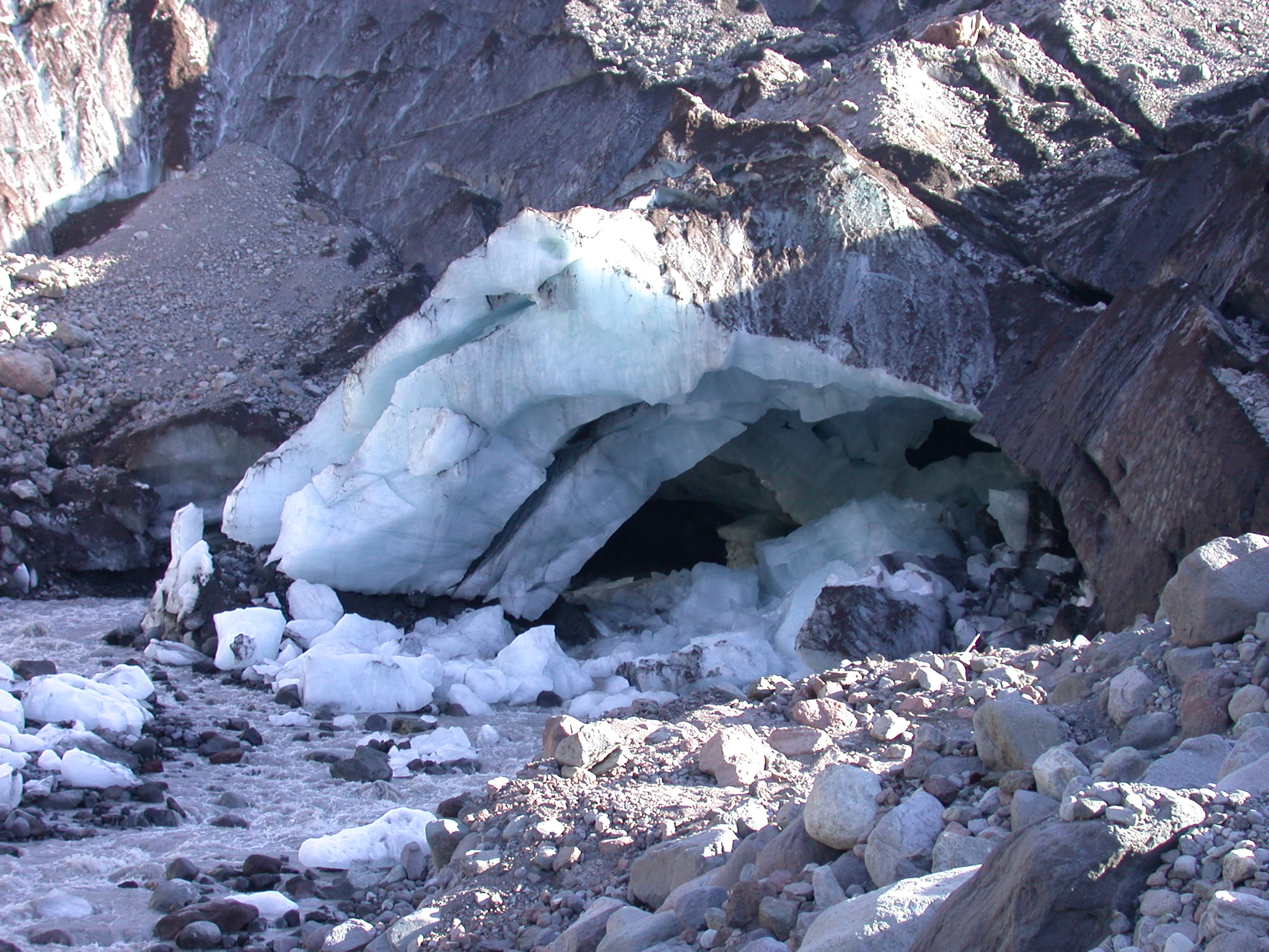 Yet Further Collapse of Ice Cave at Base of Glacier on Mount Rainier