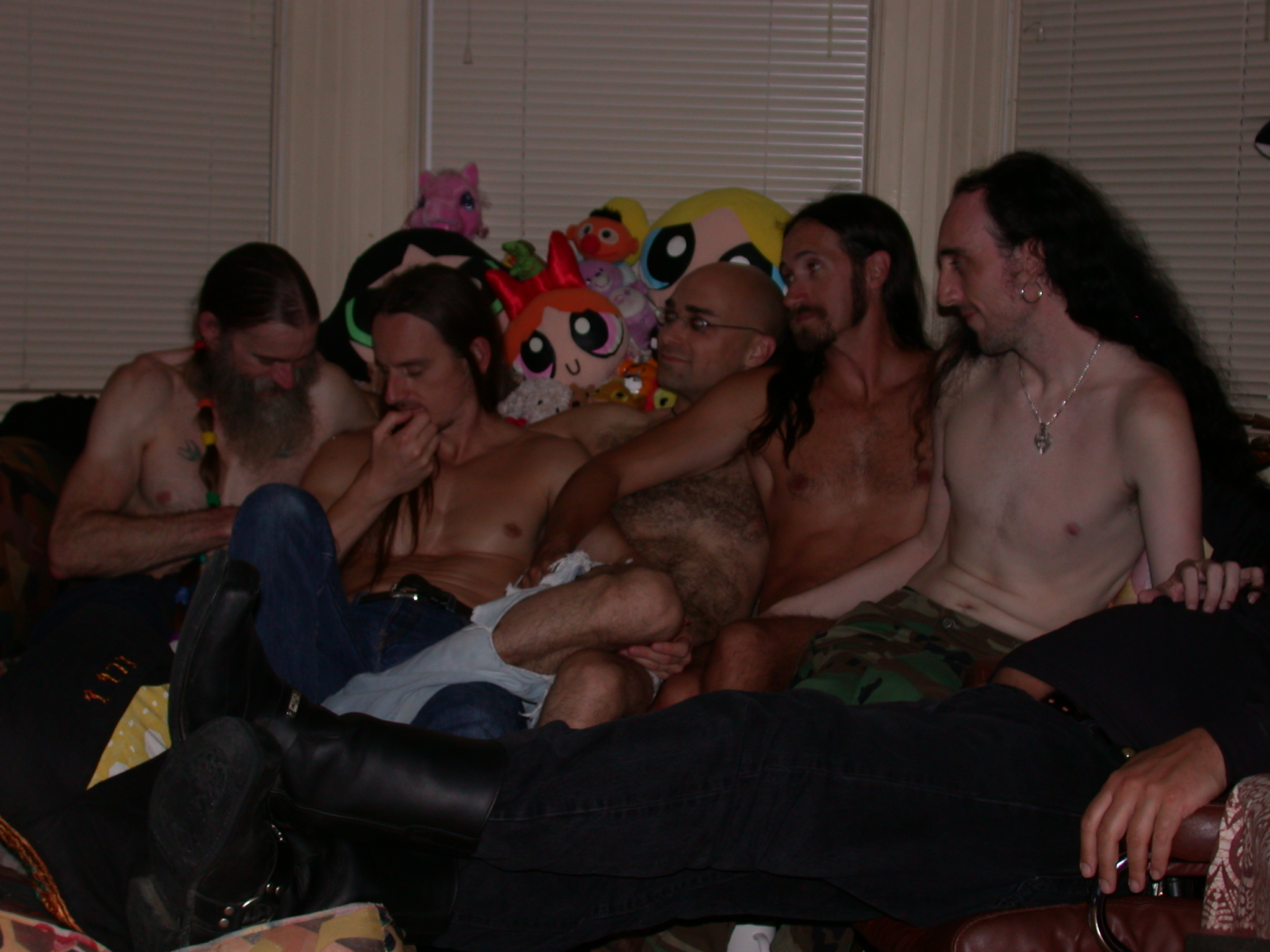 Scott, Rob, Storm, Paul, Johnny, and Unidentified Leather Dude