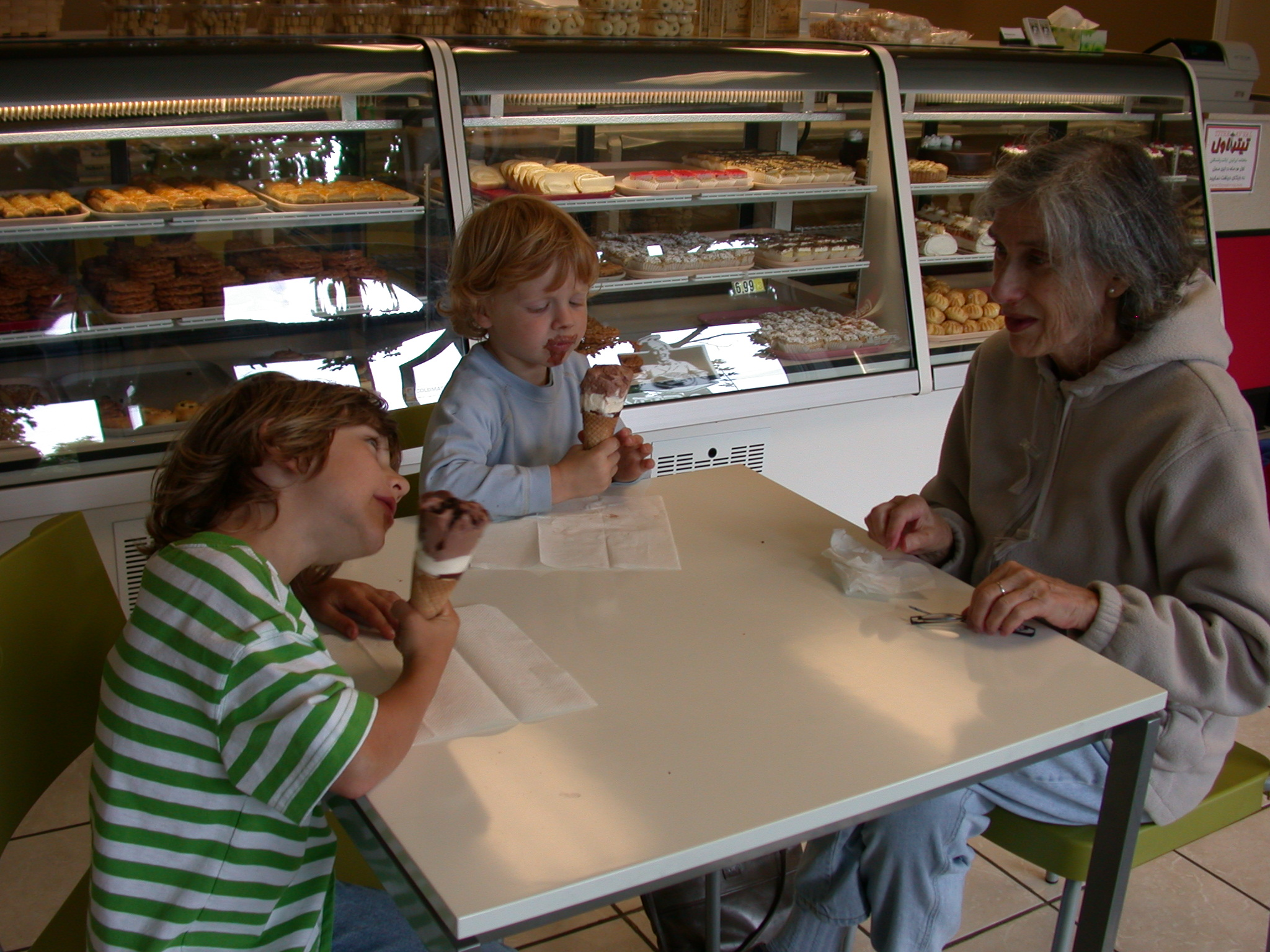 Alex, Zachary, and Mom at Iranian Bakery