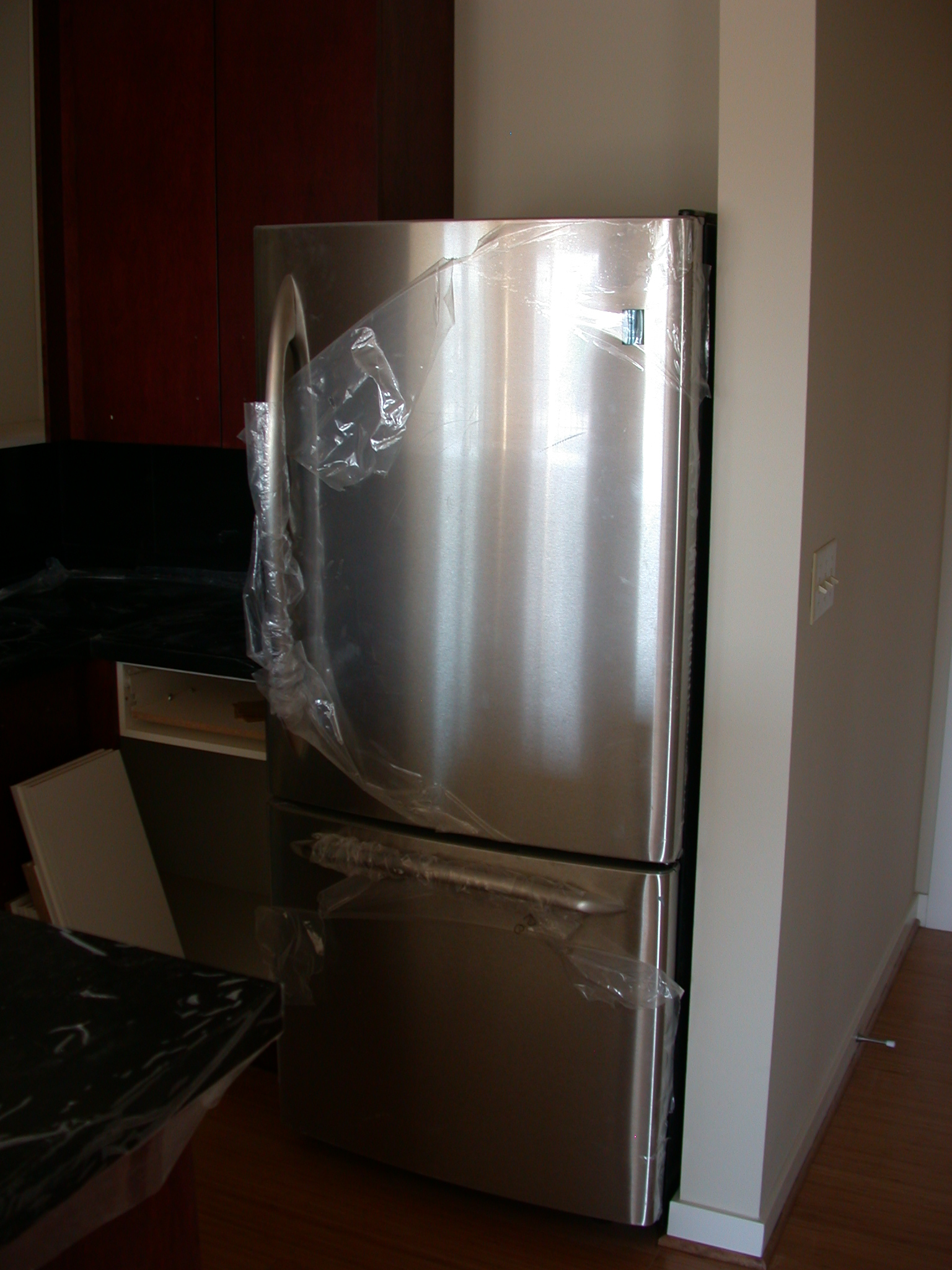 Refrigerator in Kitchen of Moms Condominium