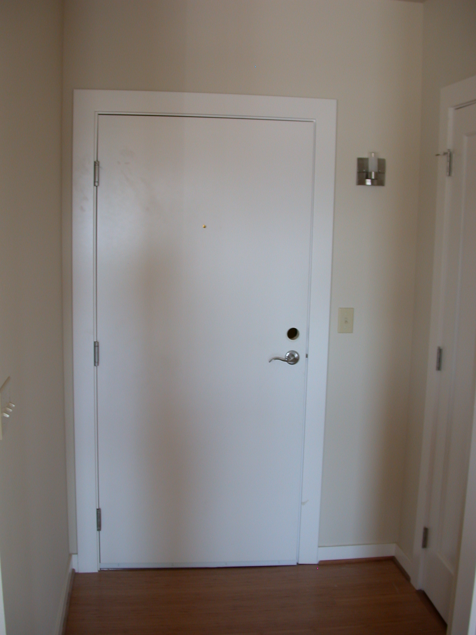 Front Door Opening Into Living Room of Moms Condominium