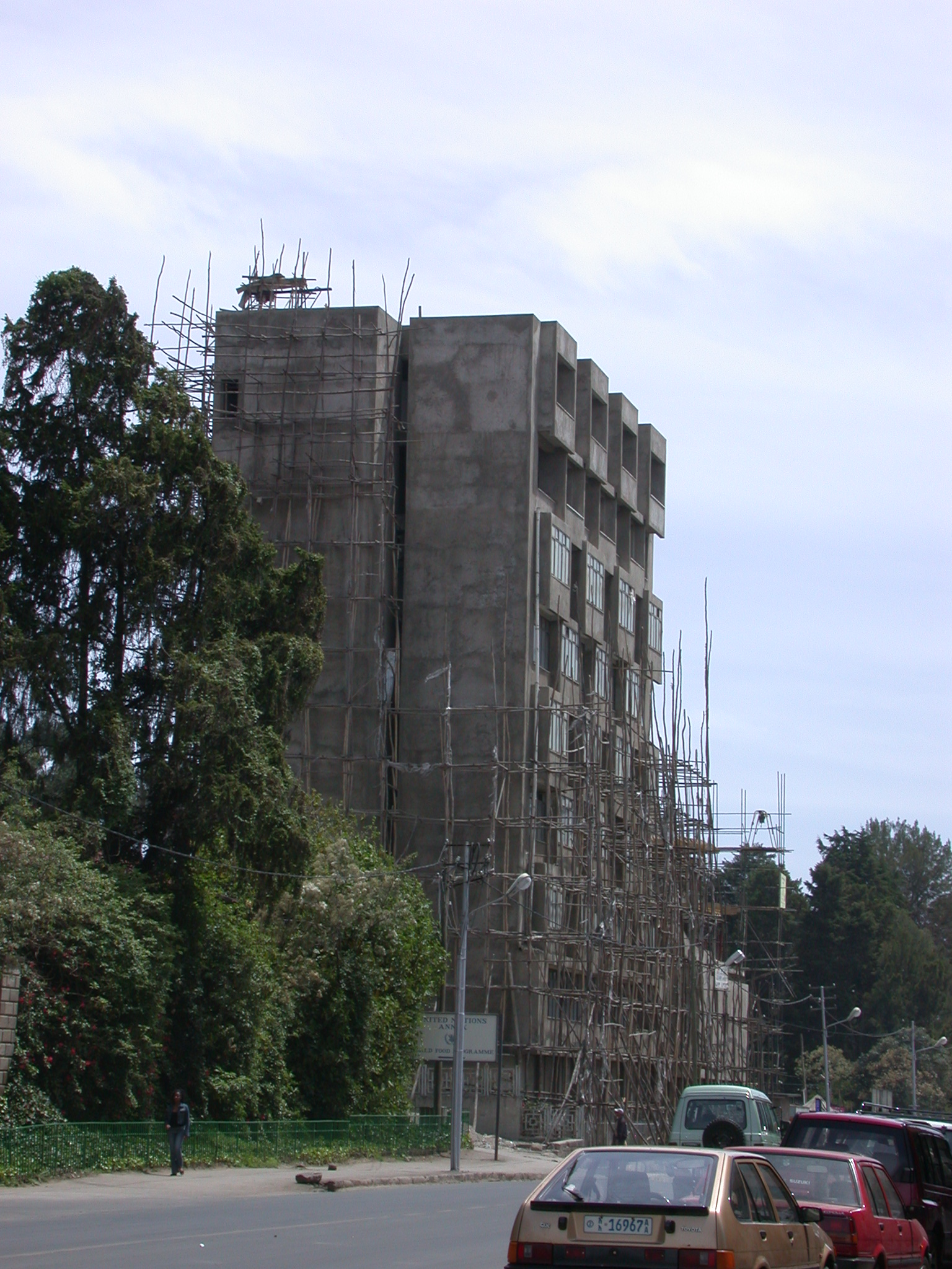 Construction With Wooden Scaffolding