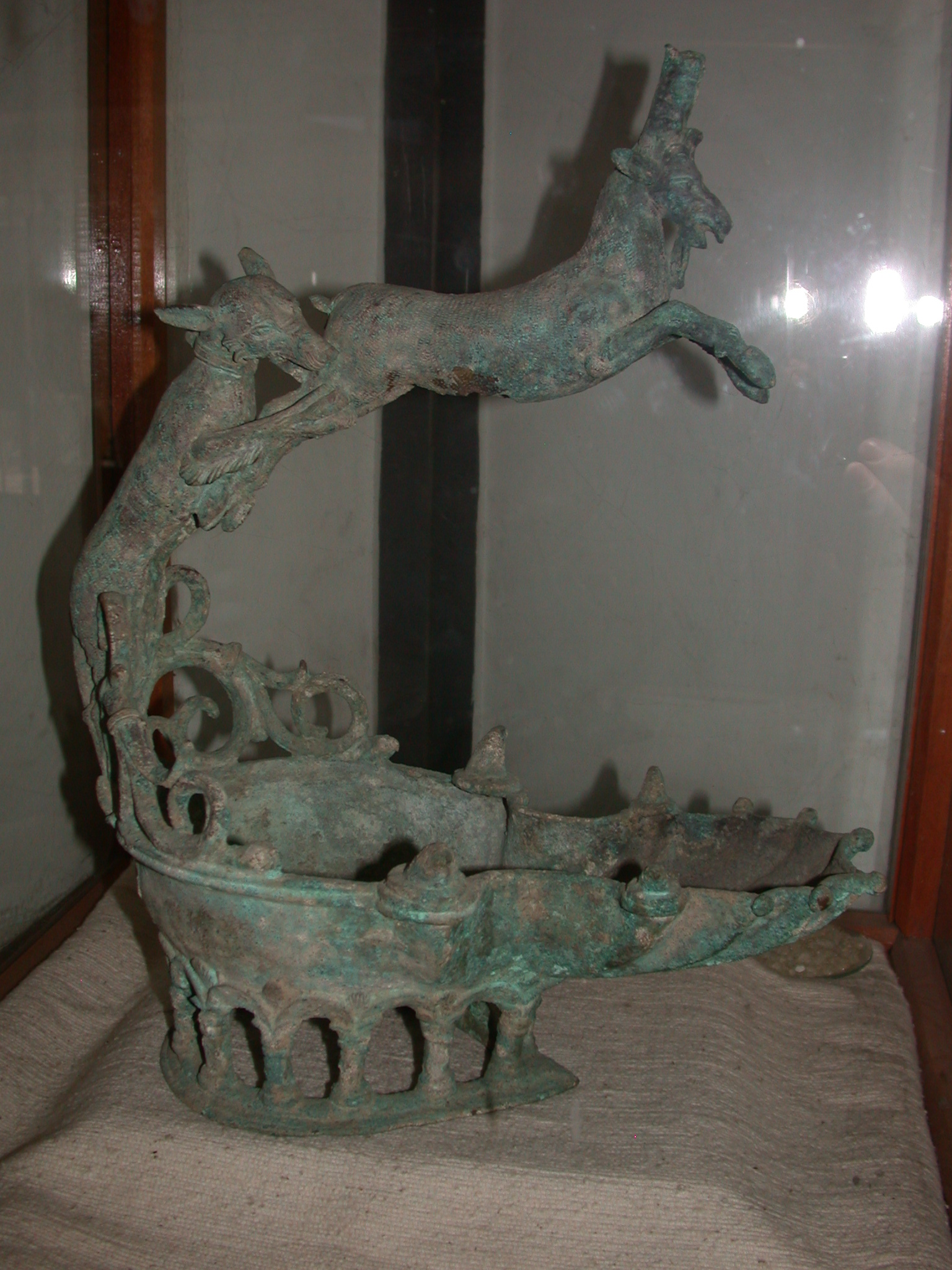 Bronze Oil Lamp Depicting Dog Hunting Ibex, Before 1st Century BCE, Matara, Eritrea, Now Located at National Museum in Addis Ababa, Ethiopia
