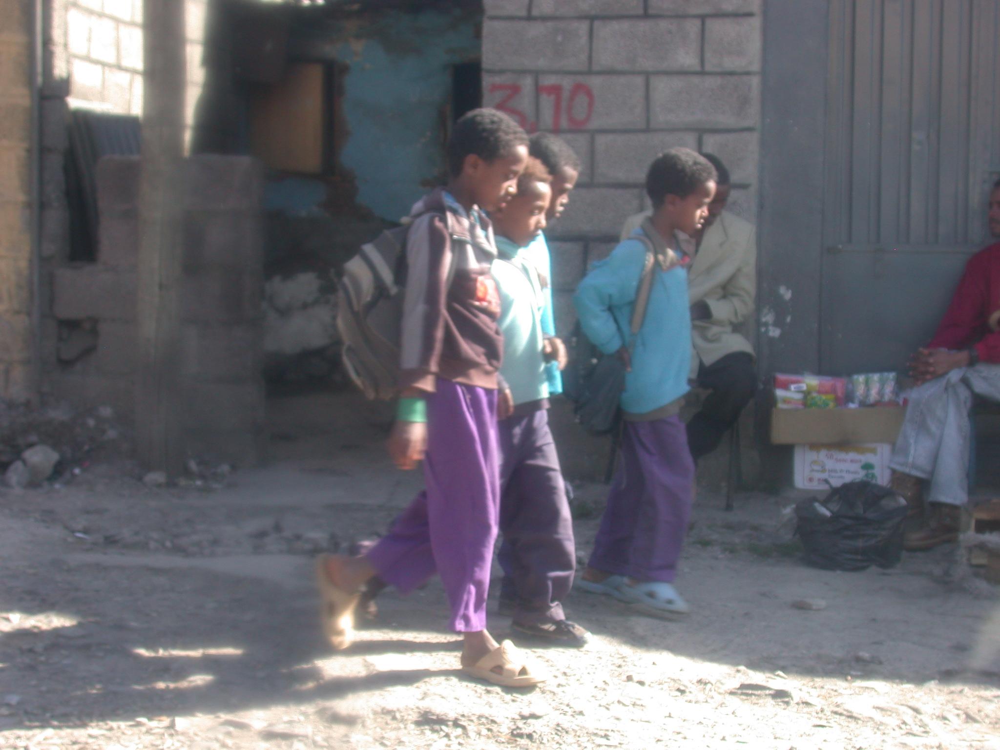 Schoolchildren Walking Home on the Streets of Addis Ababa, Ethiopia