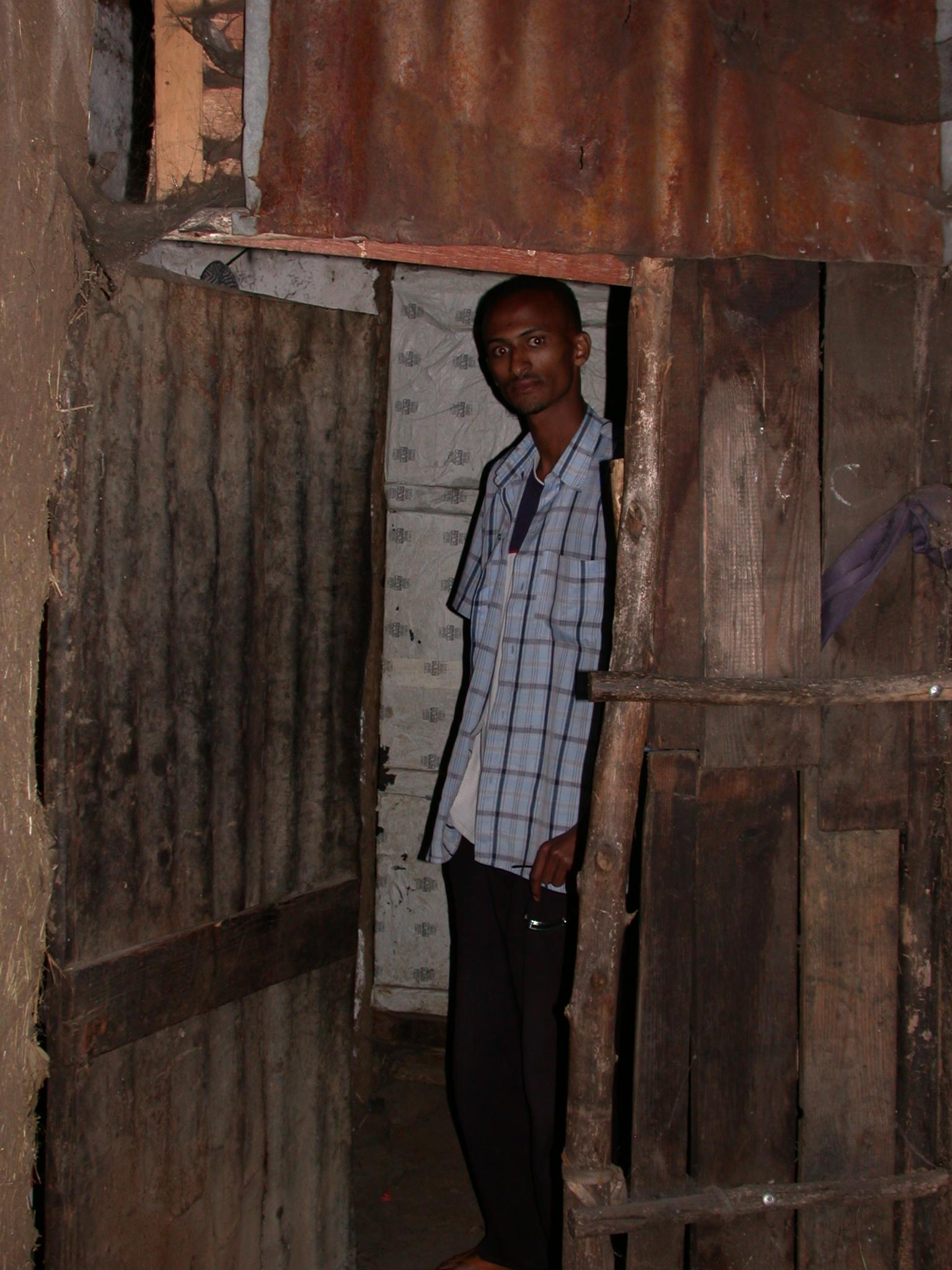 Abdela Assiz at Front Door of Paulos Apartment, Addis Ababa, Ethiopia