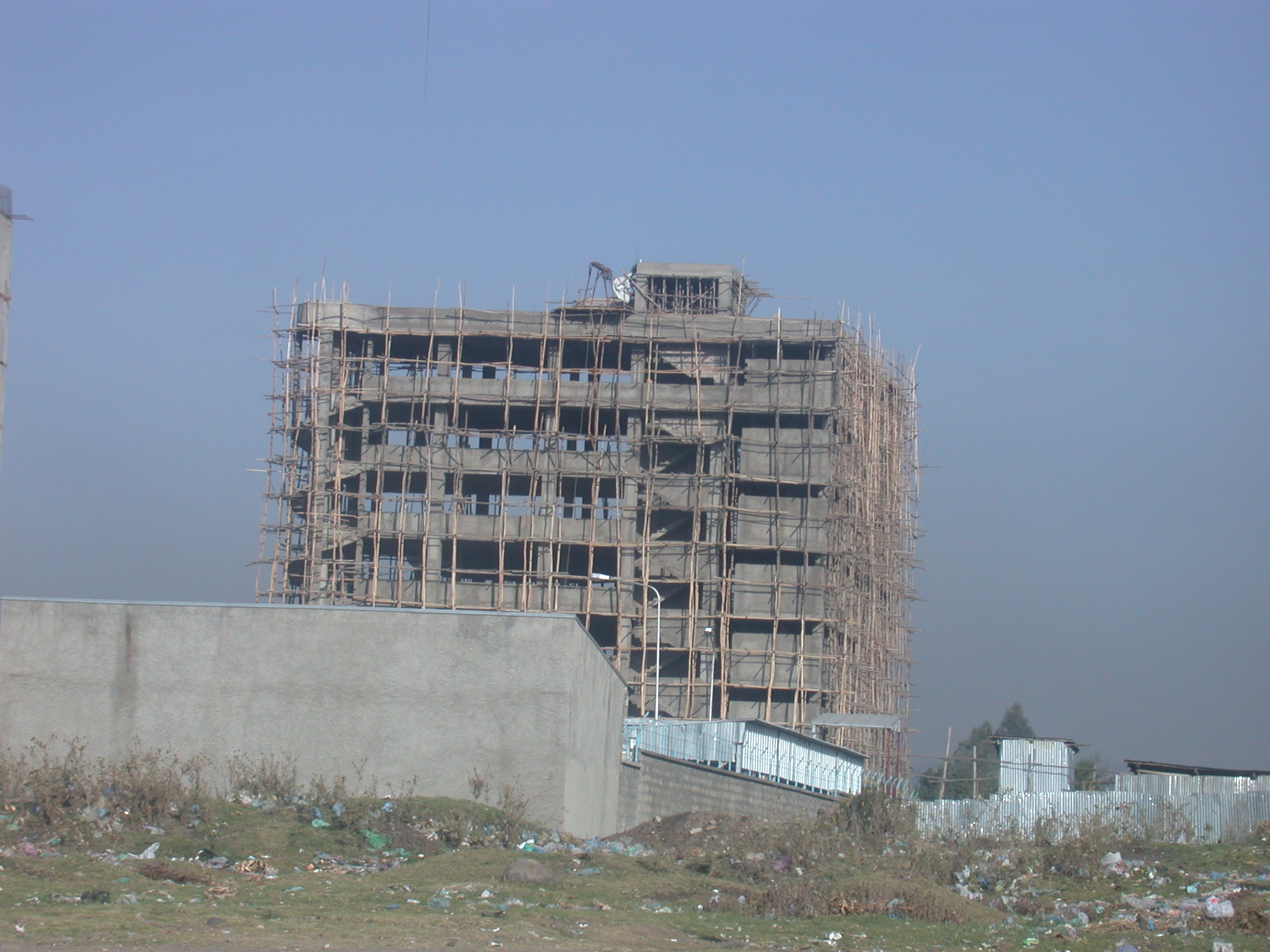 Wooden Scaffolding on Building Construction, Addis Ababa, Ethiopia