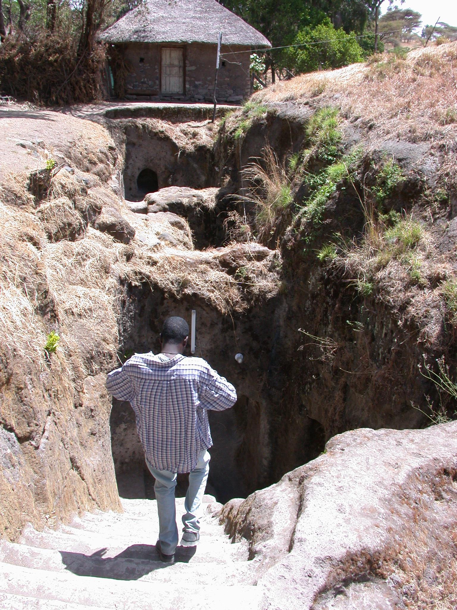 Stairway to Enter Adadi Mariam Church, South of Addis Ababa, Ethiopia