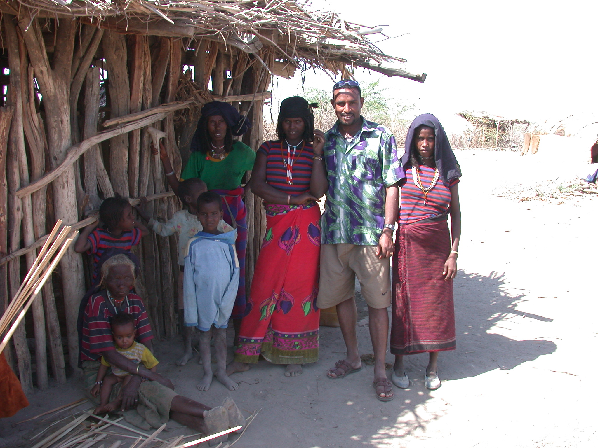 Tamir With Afar Villagers Near Bilen Lodge, Afar, Awash, Ethiopia