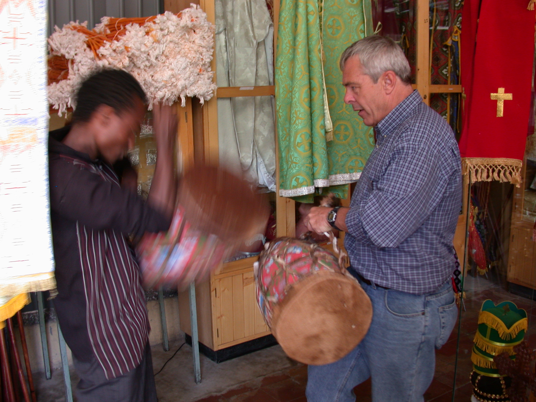 Gordon Buying Drum at Church Shop, Addis Ababa, Ethiopia