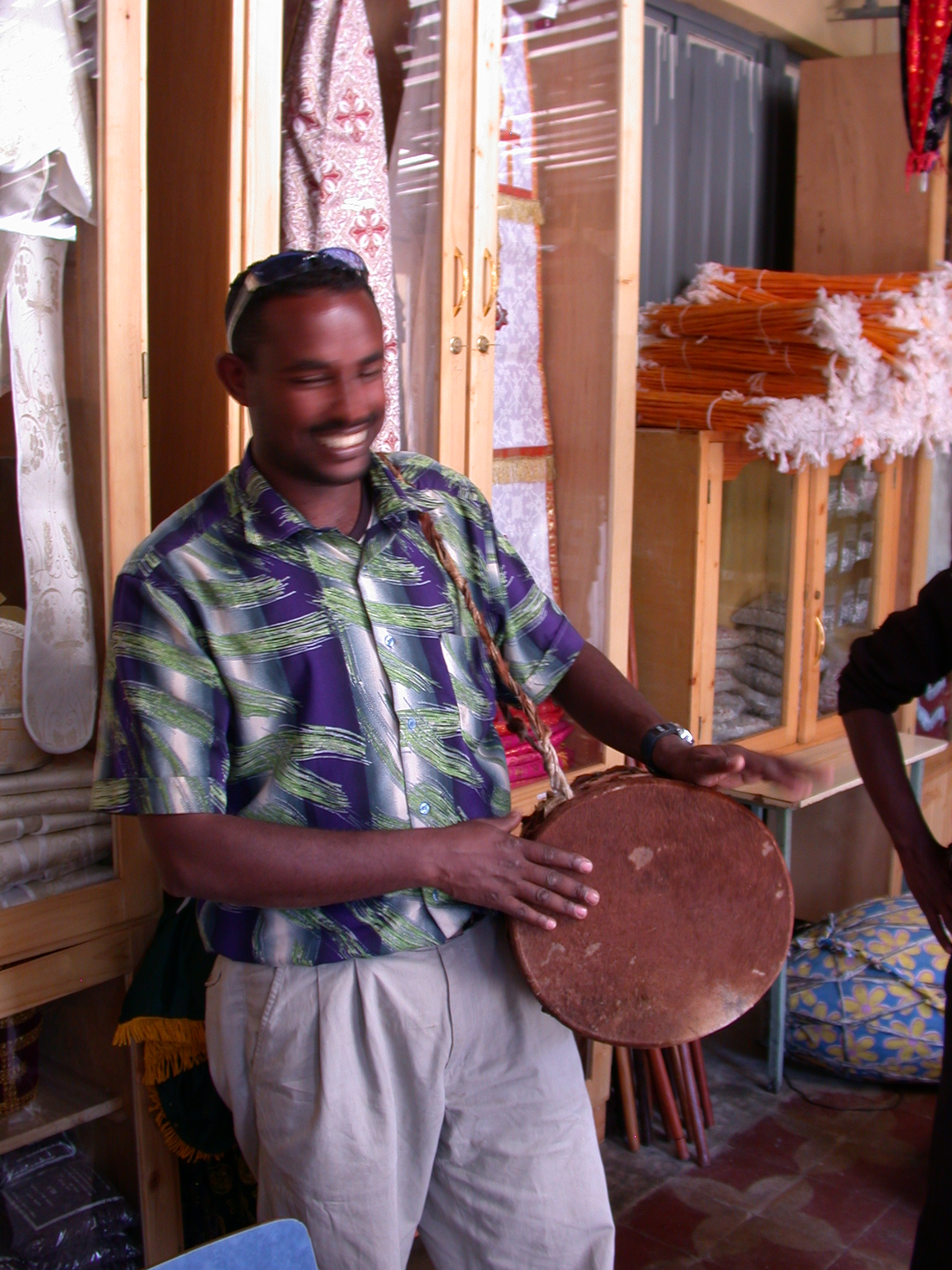 Tamir Drumming in Church Shop, Addis Ababa, Ethiopia