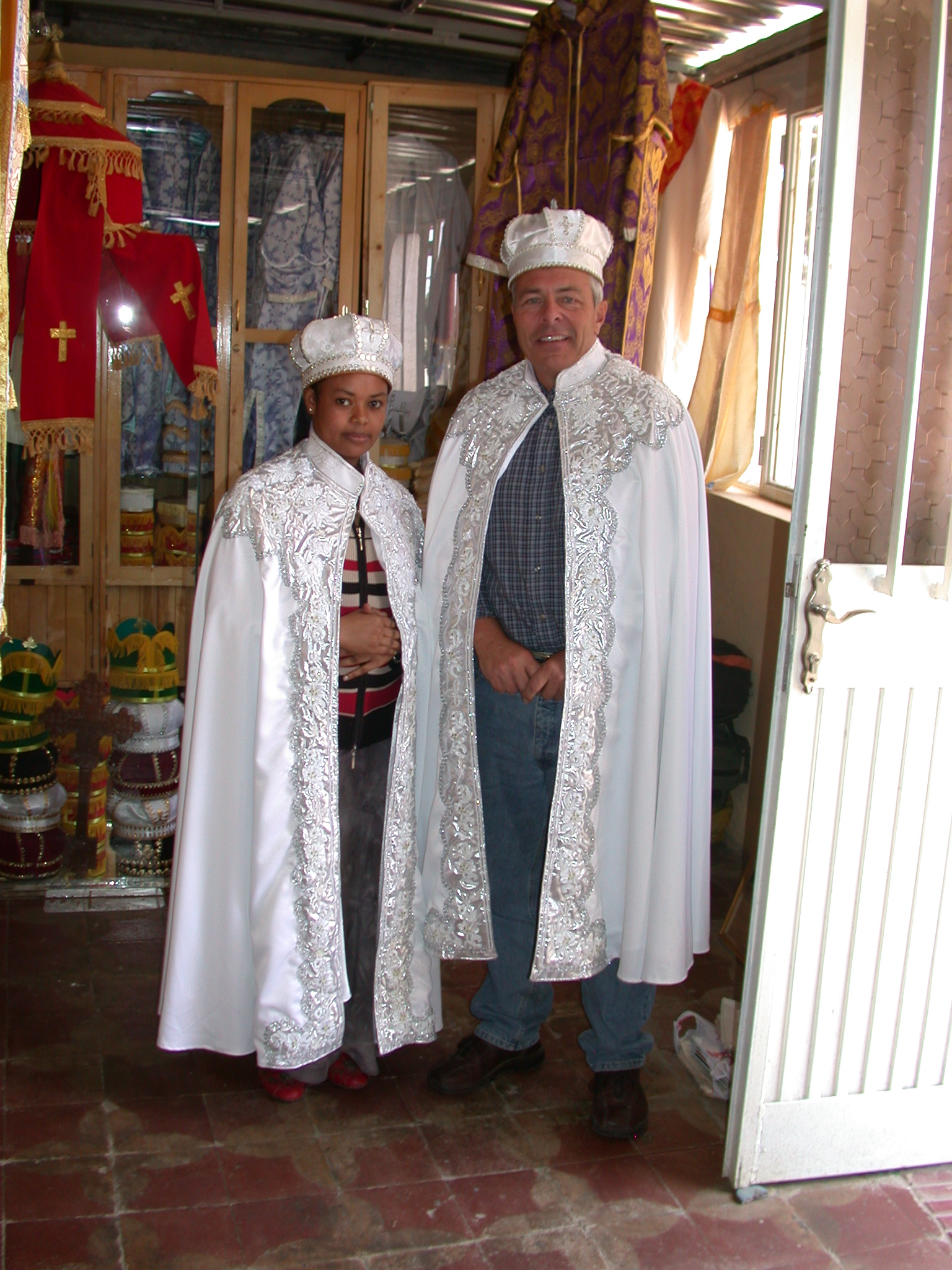 Gordon and Employee in Marriage Gowns at Church Shop in Addis Ababa, Ethiopia