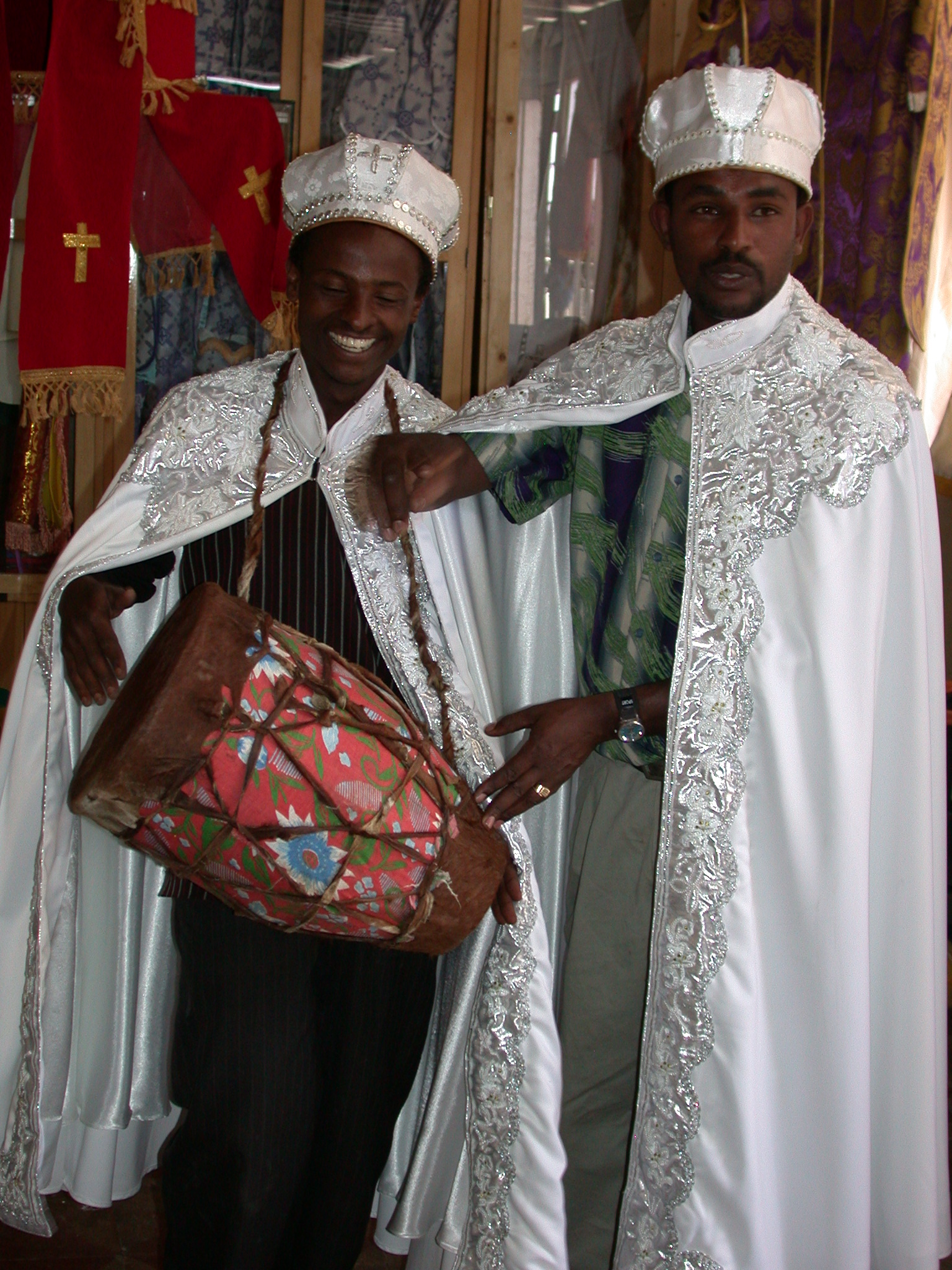 Shop Employee and Tamir in Wedding Gowns at Church Shop, Addis Ababa, Ethiopia