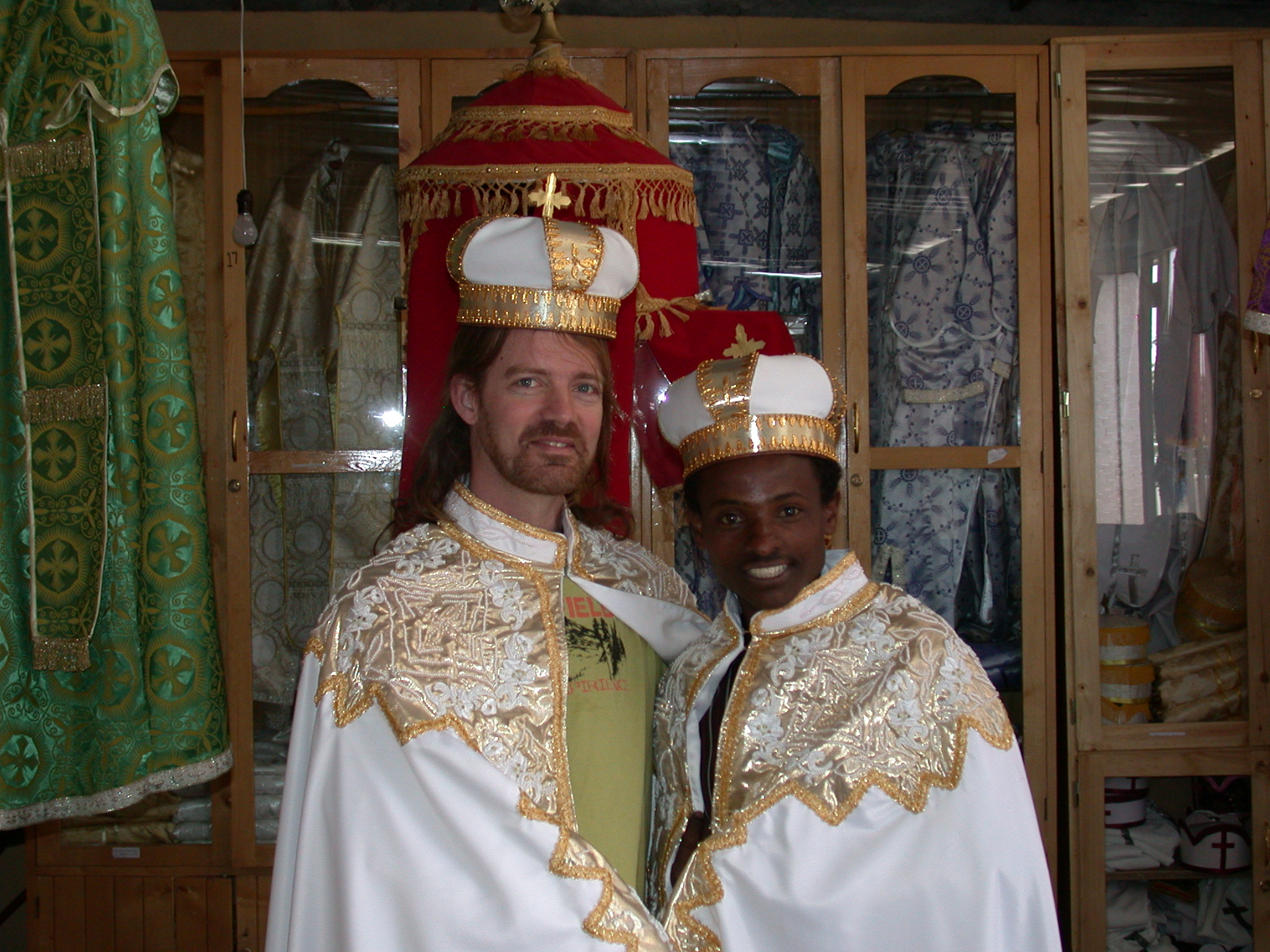 Will and Shop Employee in Marriage Gowns at Church Shop, Addis Ababa, Ethiopia
