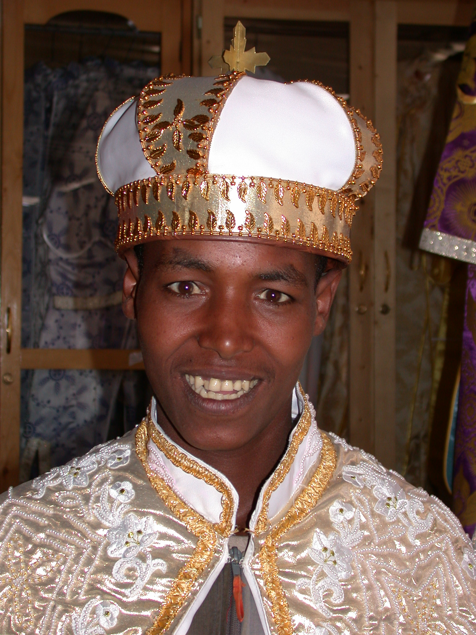 Street Guy in Wedding Gown at Church Shop, Addis Ababa, Ethiopia