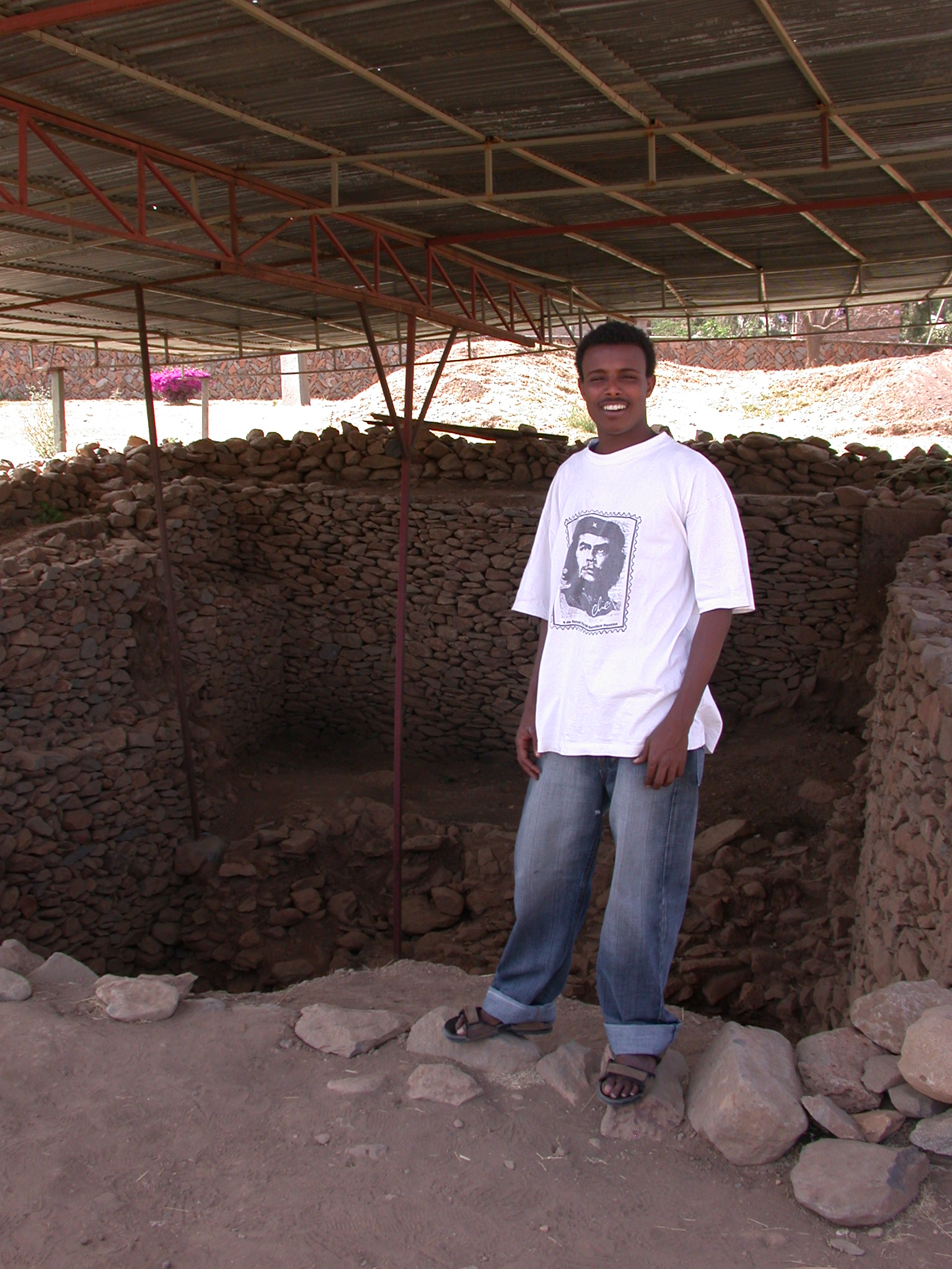 Guide Shows Excavation Site, Axum, Tigrai, Ethiopia