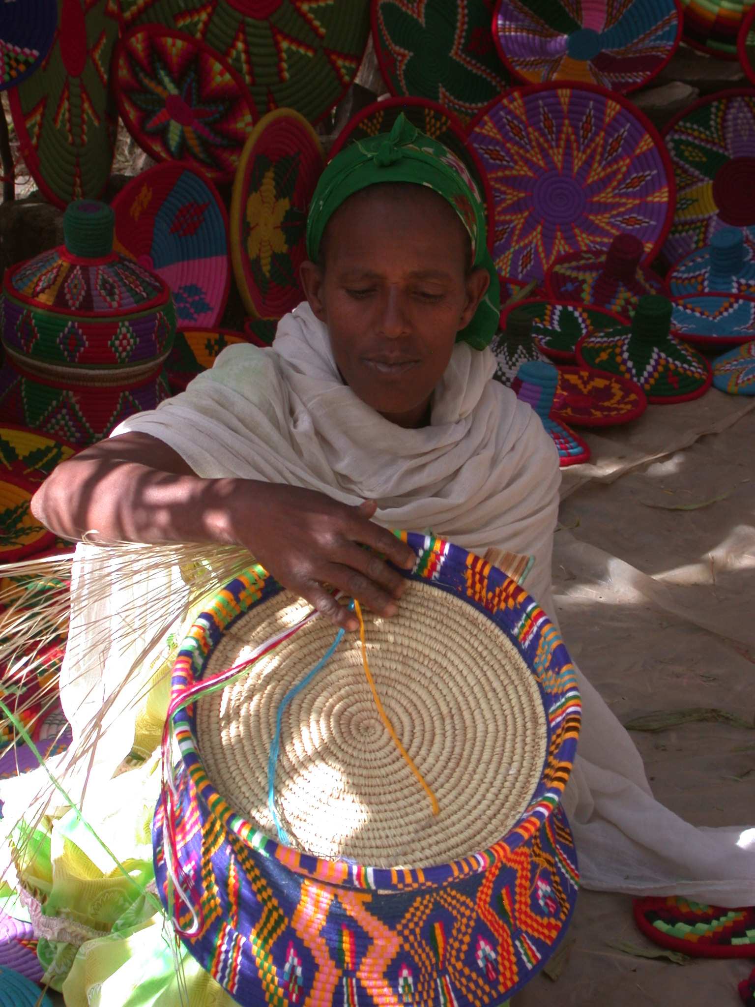 Woman Weaving Baskets Outside Axum Museum, Axum, Tigrai, Ethiopia