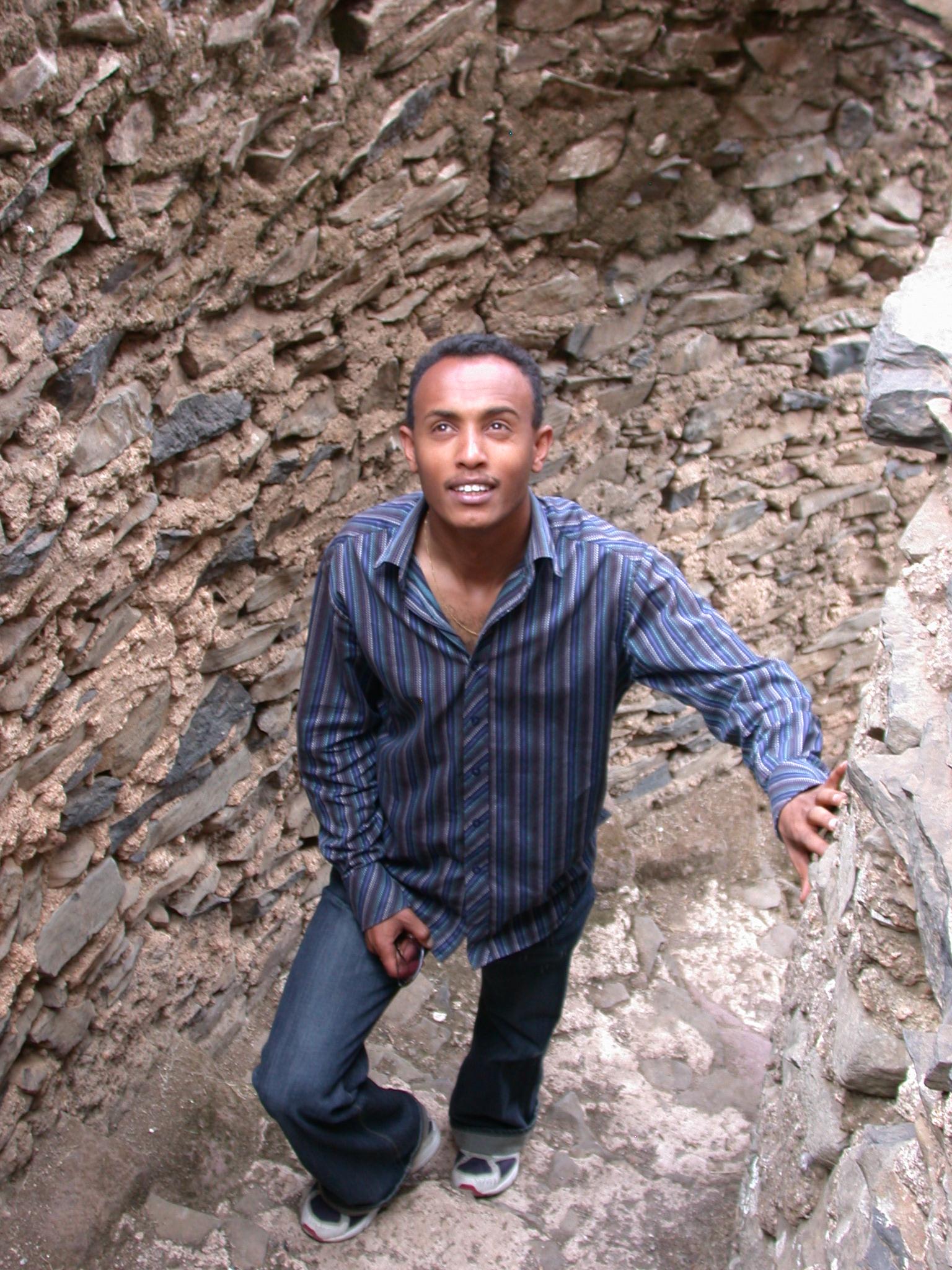 Climbing Spiral Staircase, Palace, Fasil Ghebbi Royal Enclosure, Gonder, Ethiopia