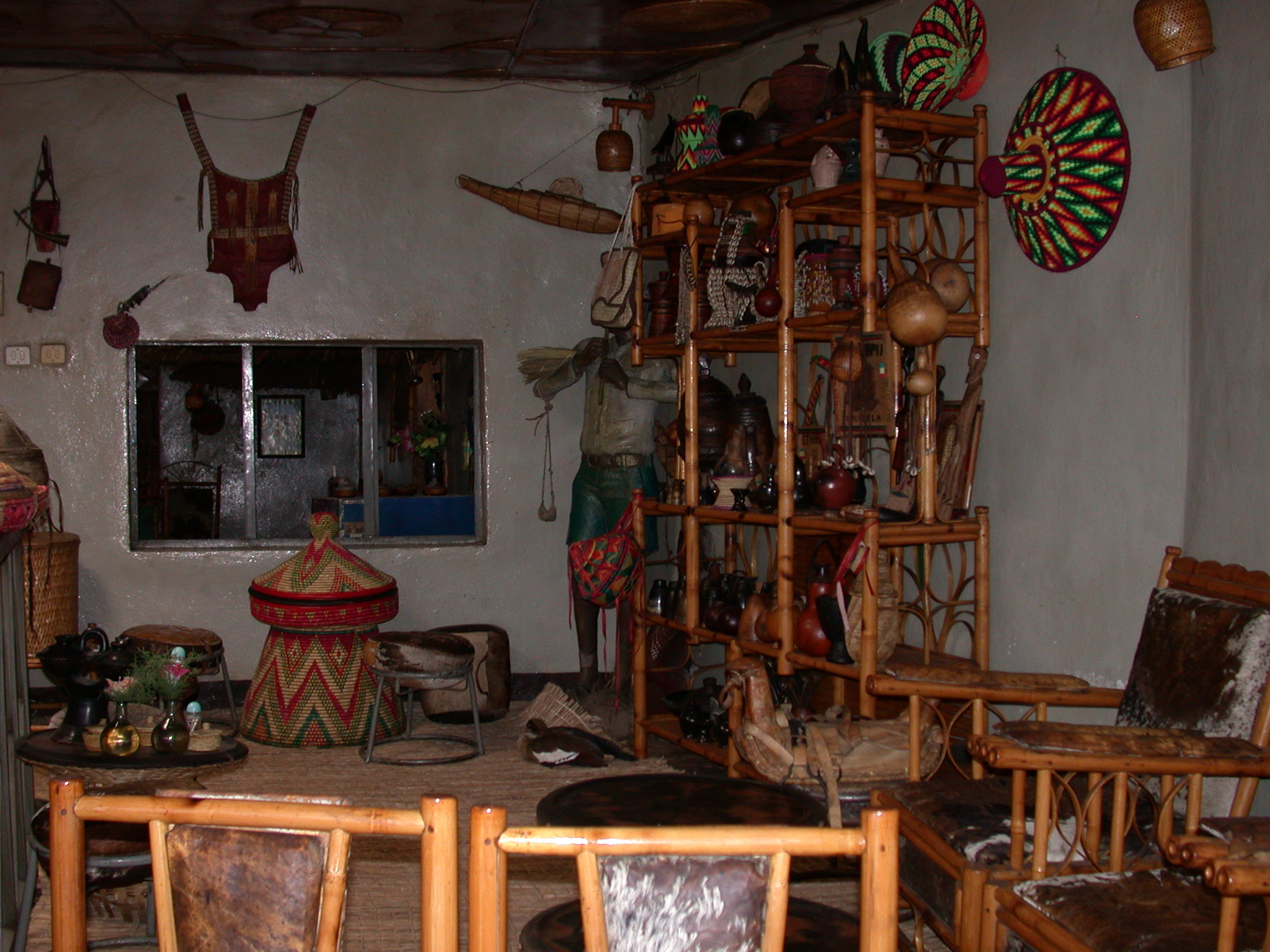 Goose and Interior of Habesha Restaurant, Gonder, Ethiopia
