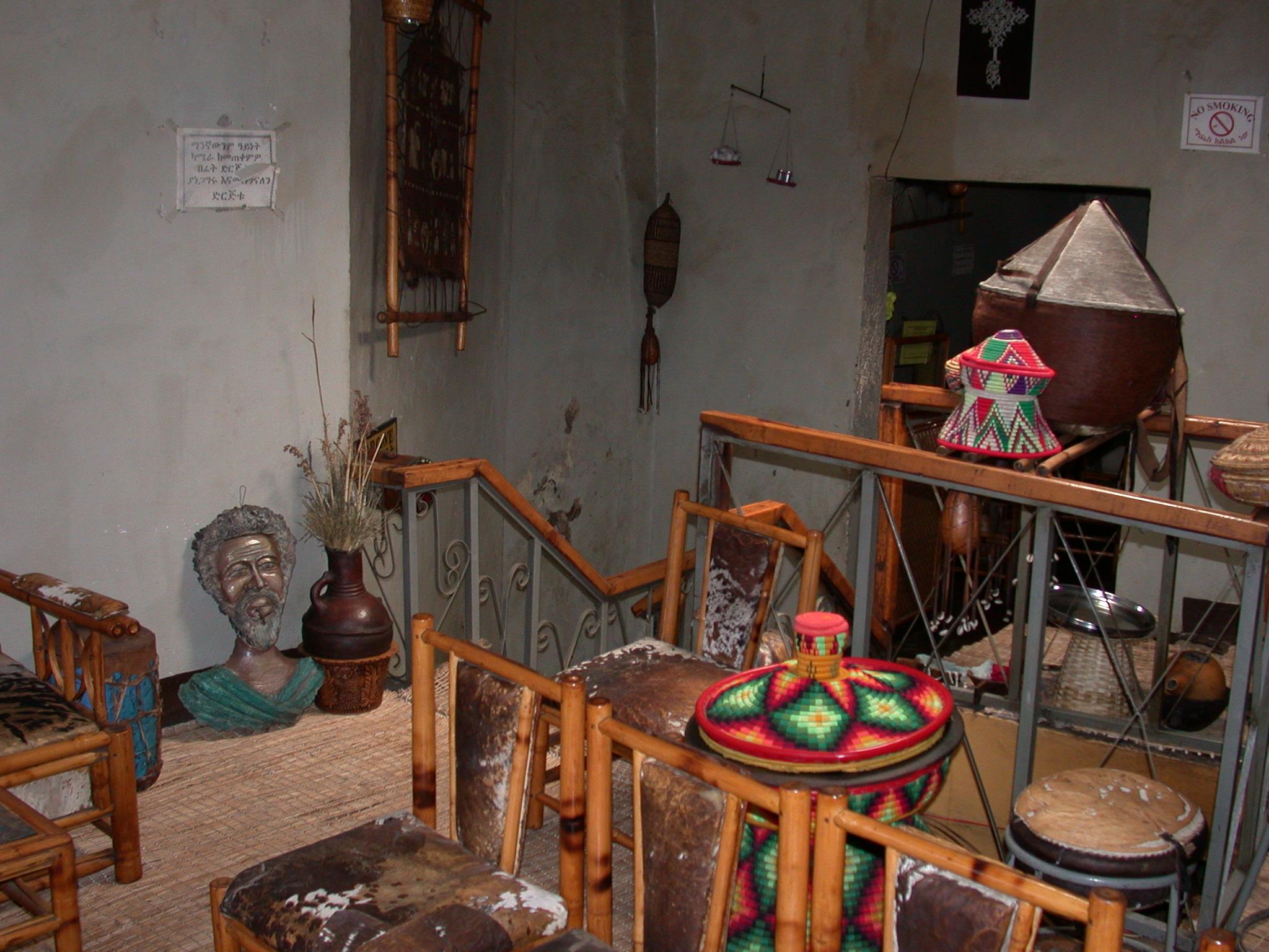 Interior of Habesha Restaurant, Gonder, Ethiopia