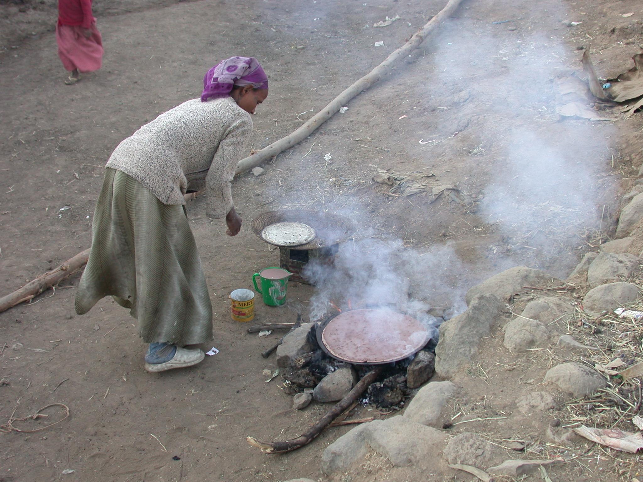 Woman Cooks Injeera, Debark, Ethiopia