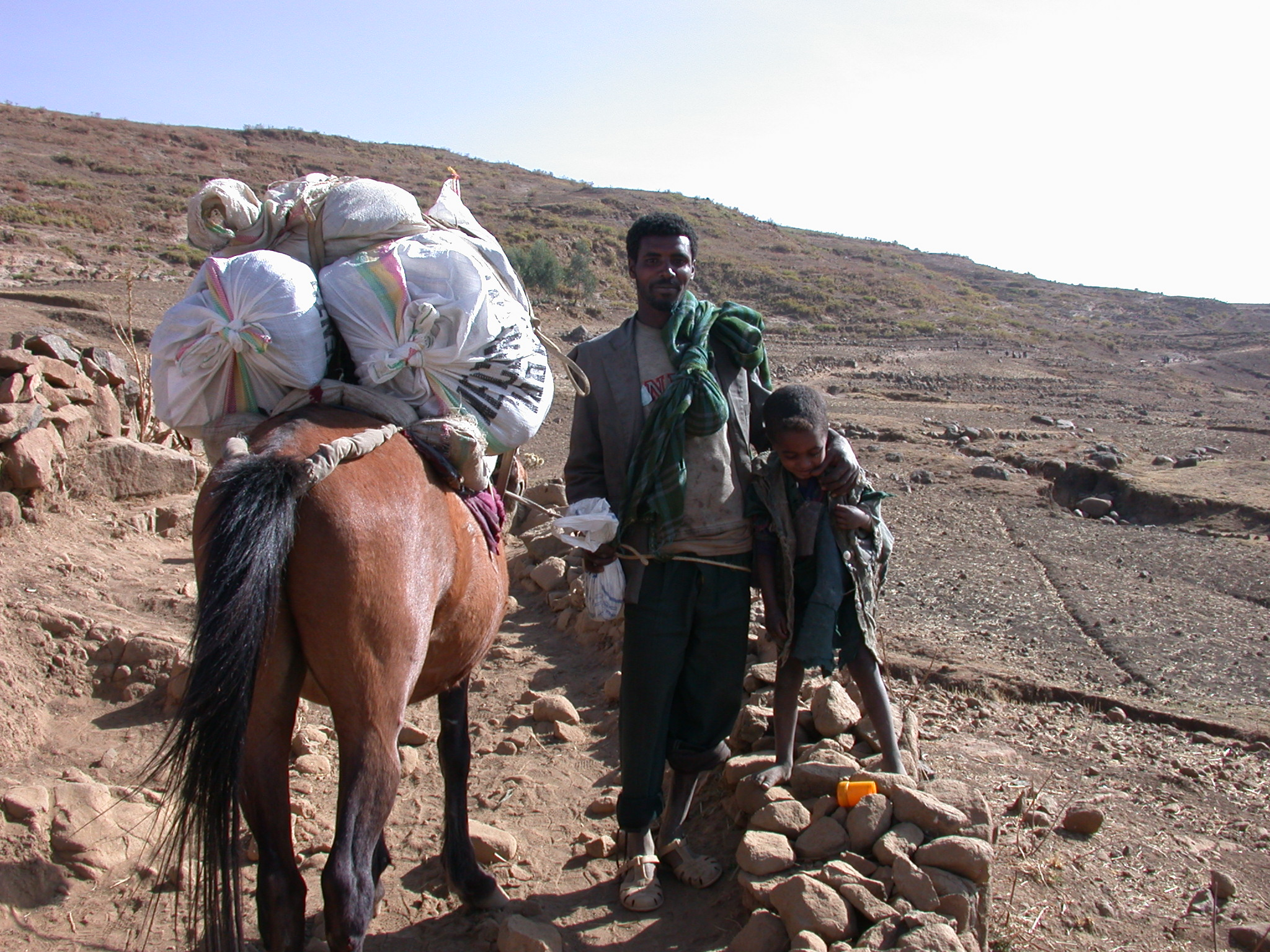 Horse Tender and His Son on Trek from Debark to Sankaber, Simien Mountains, Ethiopia
