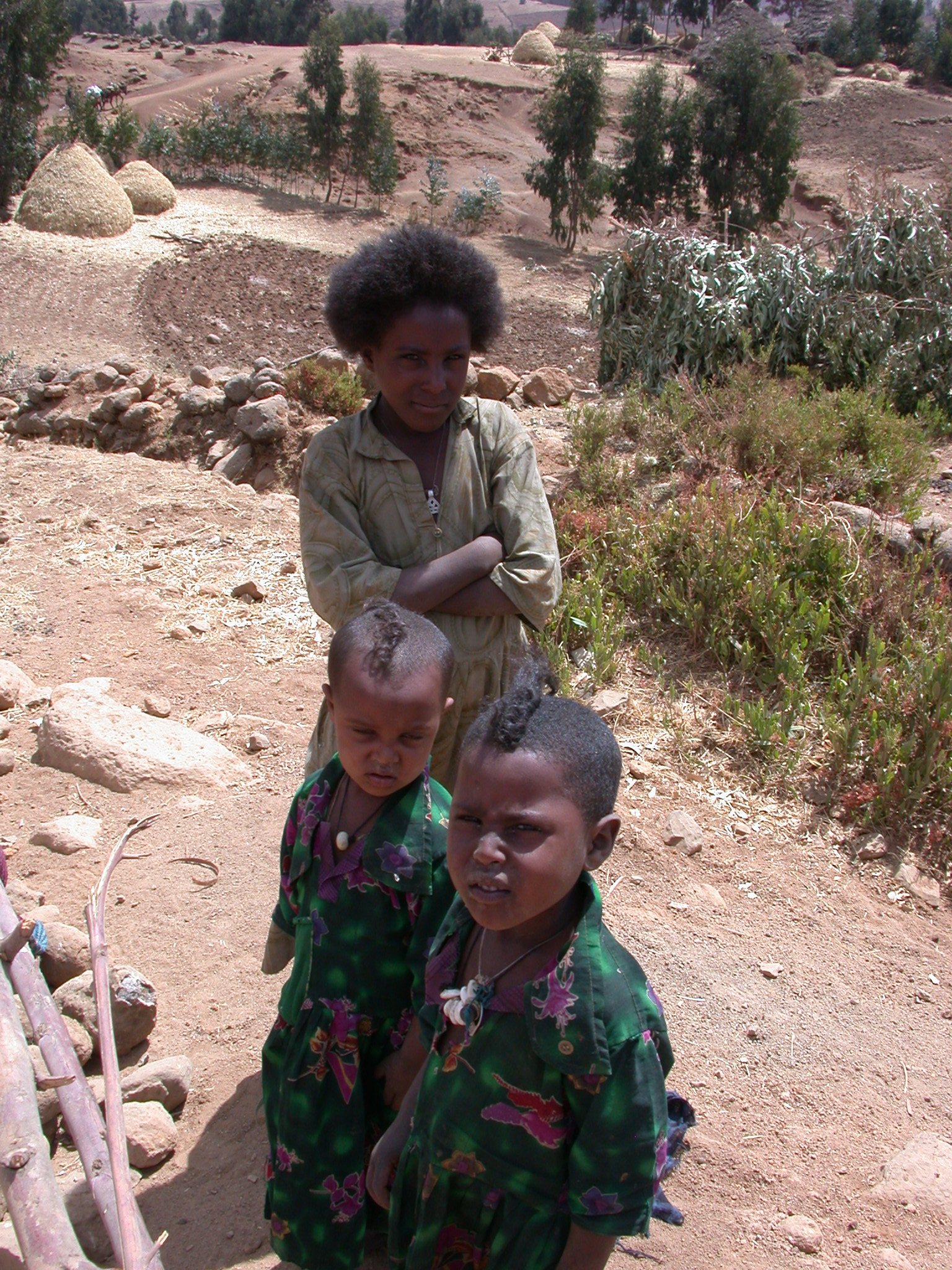 Residents of Local Village on Trek from Debark to Sankaber, Simien Mountains, Ethiopia