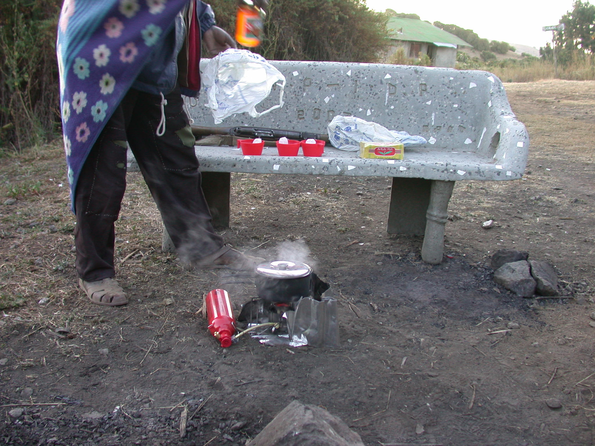Using My Stove on Trek at Sankaber Camp, Simien Mountains, Ethiopia