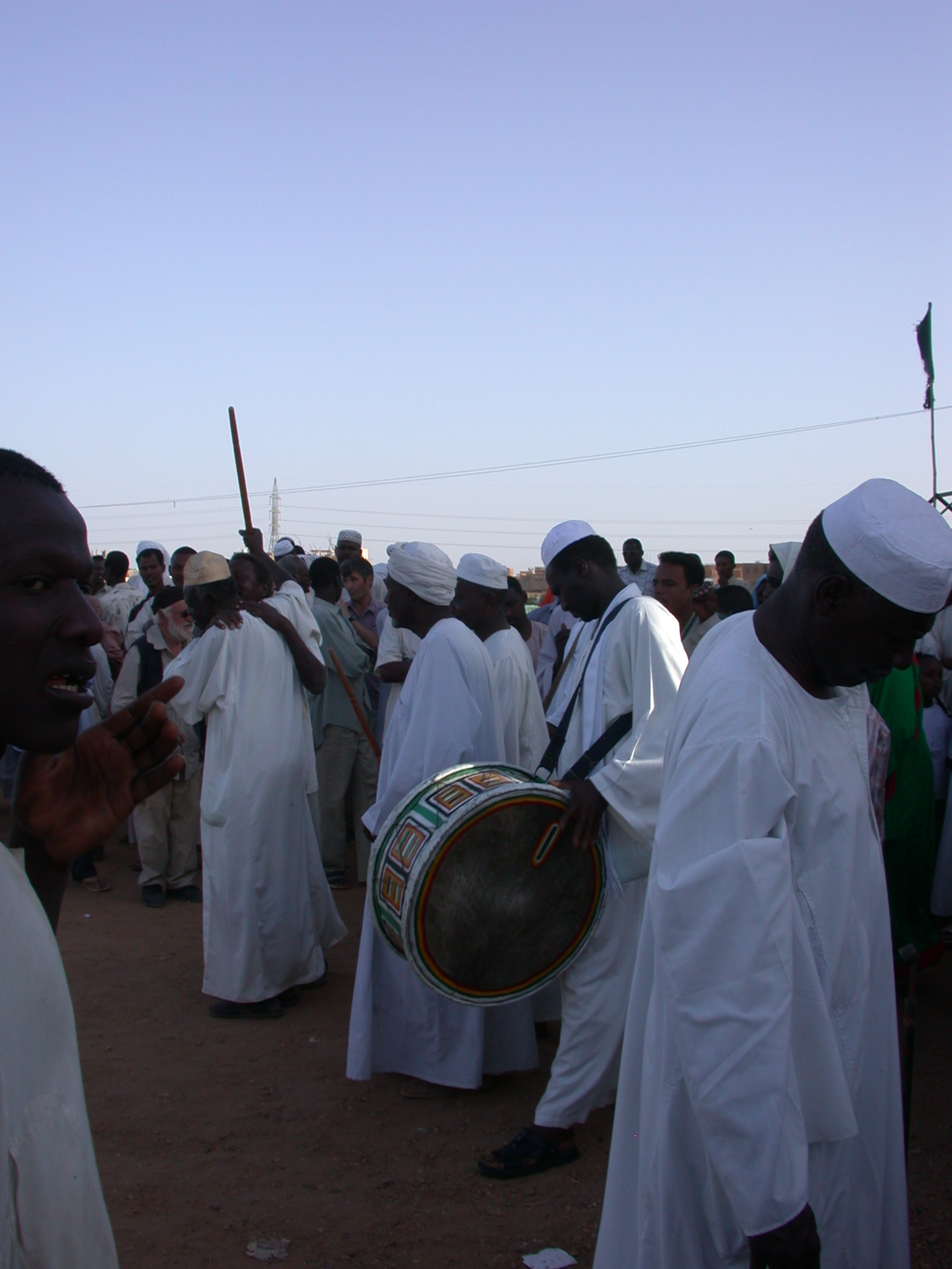 Ritual Drumming Starts at Sufi Dancing Site, Omdurman, Sudan