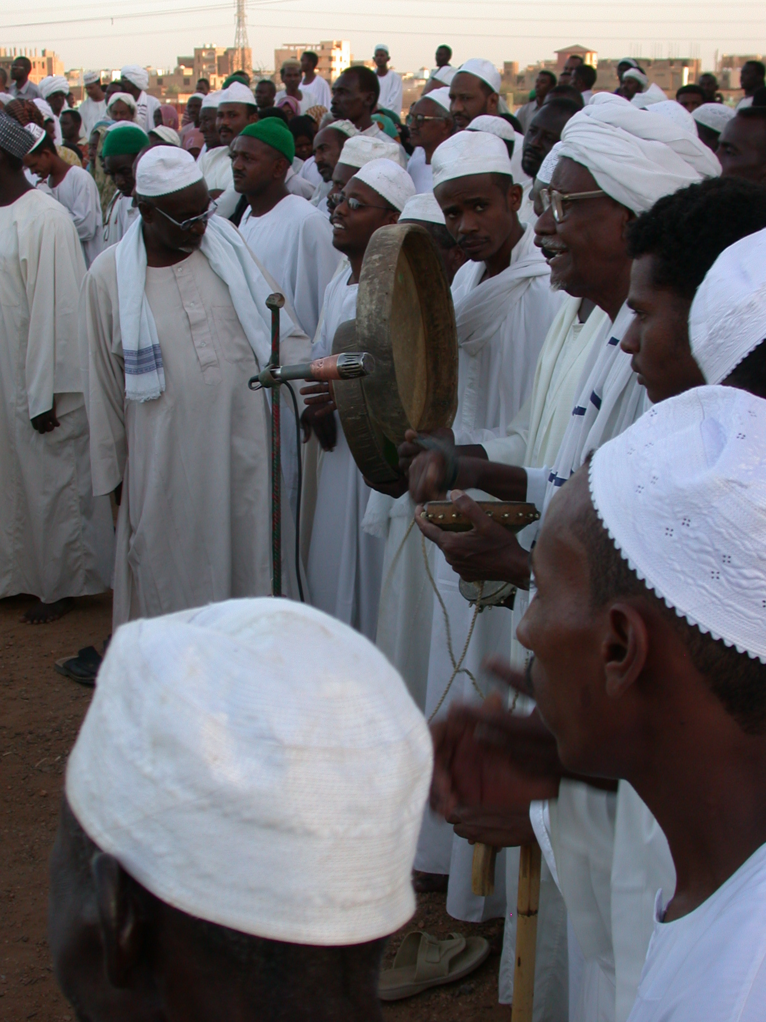 Drummers and Chanters at Sufi Dancing Site, Omdurman, Sudan
