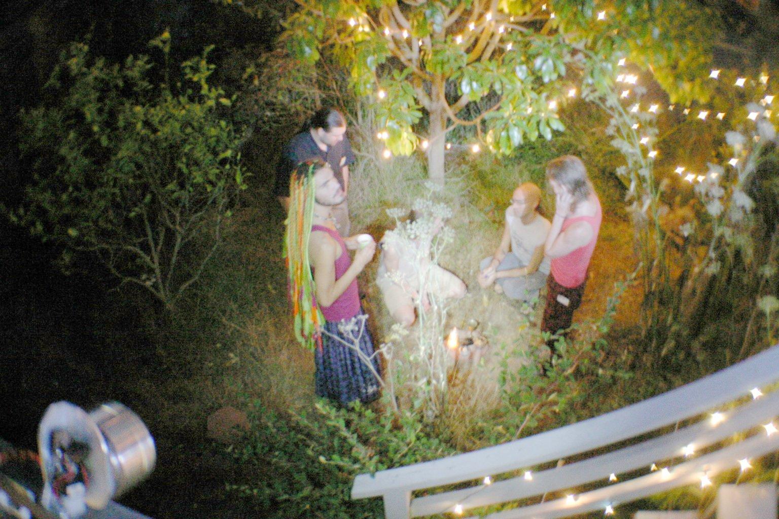 Assembling in Backyard for Ritual