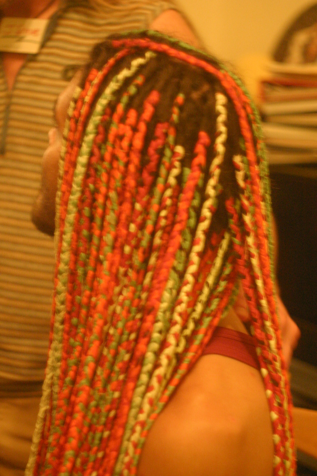 Closeup of Keleb Multicolored Dreads