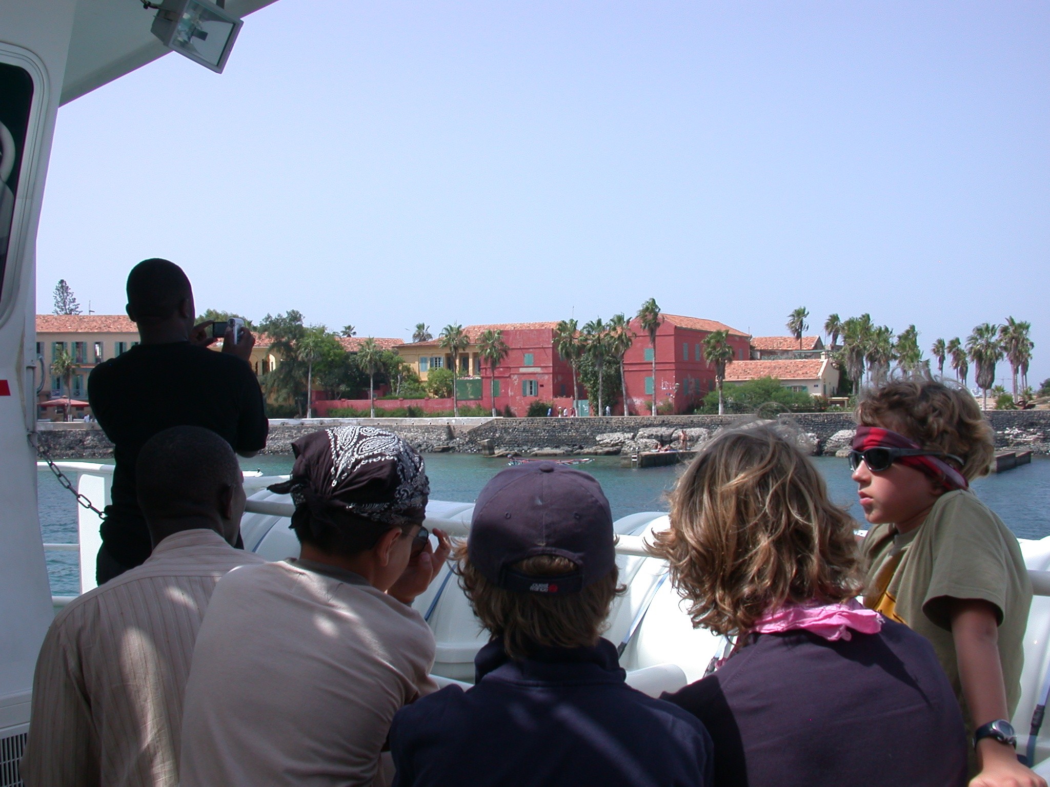 Colorful Old Houses on Ile de Goree From the Ferry