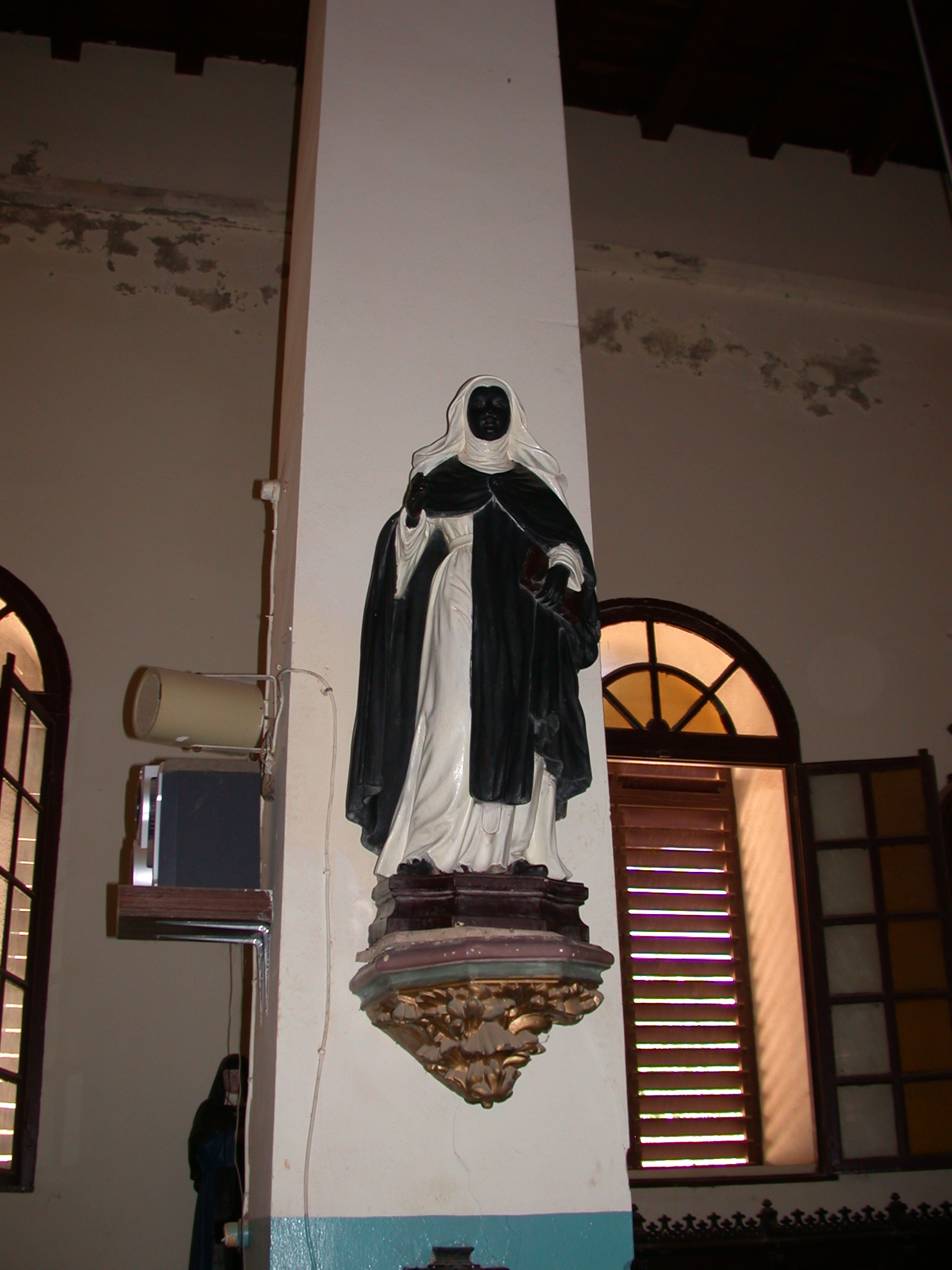 Black Figure in Cathedral, Ile de Goree, Dakar, Senegal